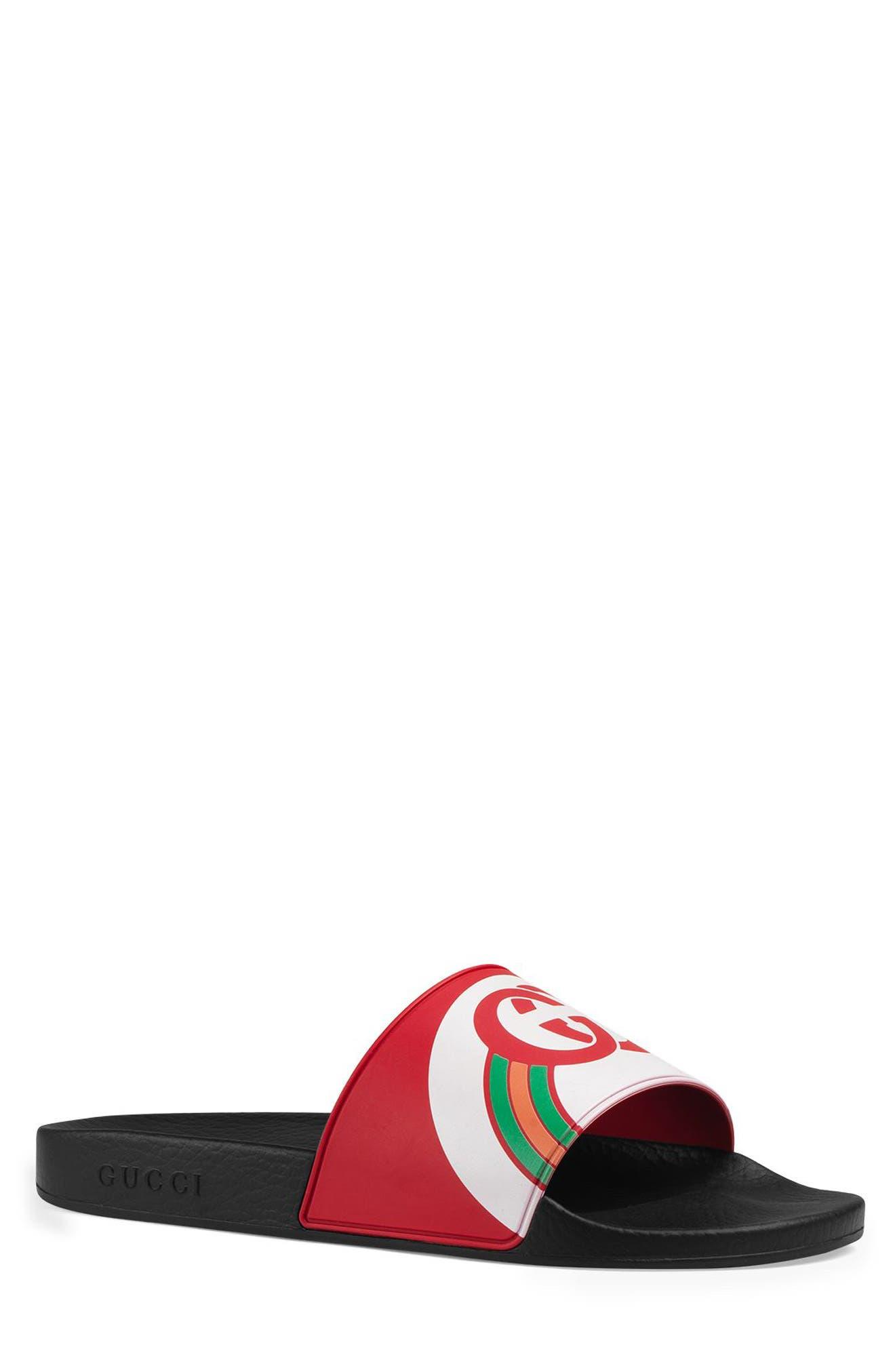 GUCCI Pursuit Rainbow Sport Slide, Main, color, LIVE RED/ MULTICOLOR