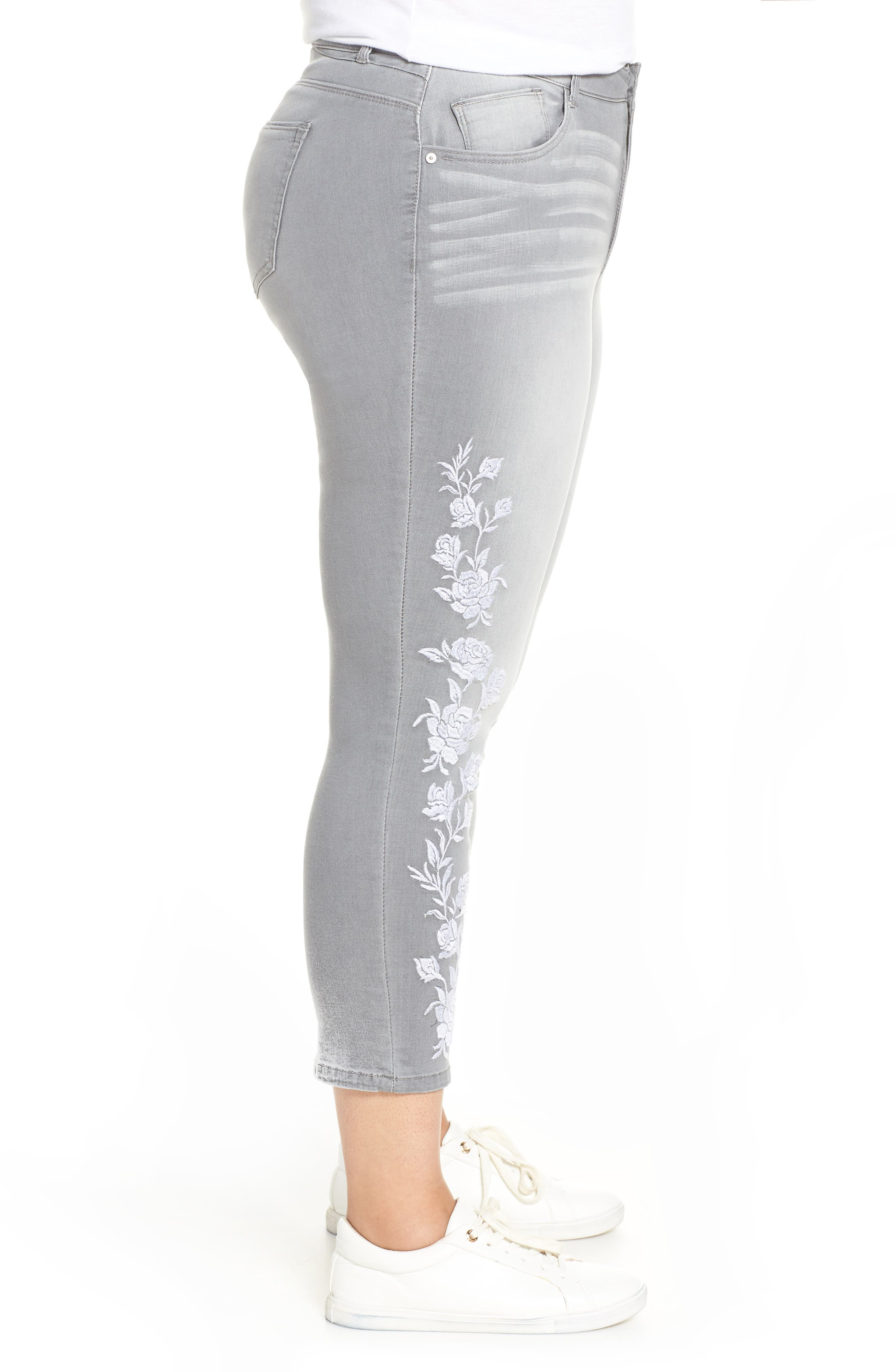 WIT & WISDOM, Embroidered High Waist Ankle Slim Jeans, Alternate thumbnail 4, color, GREY