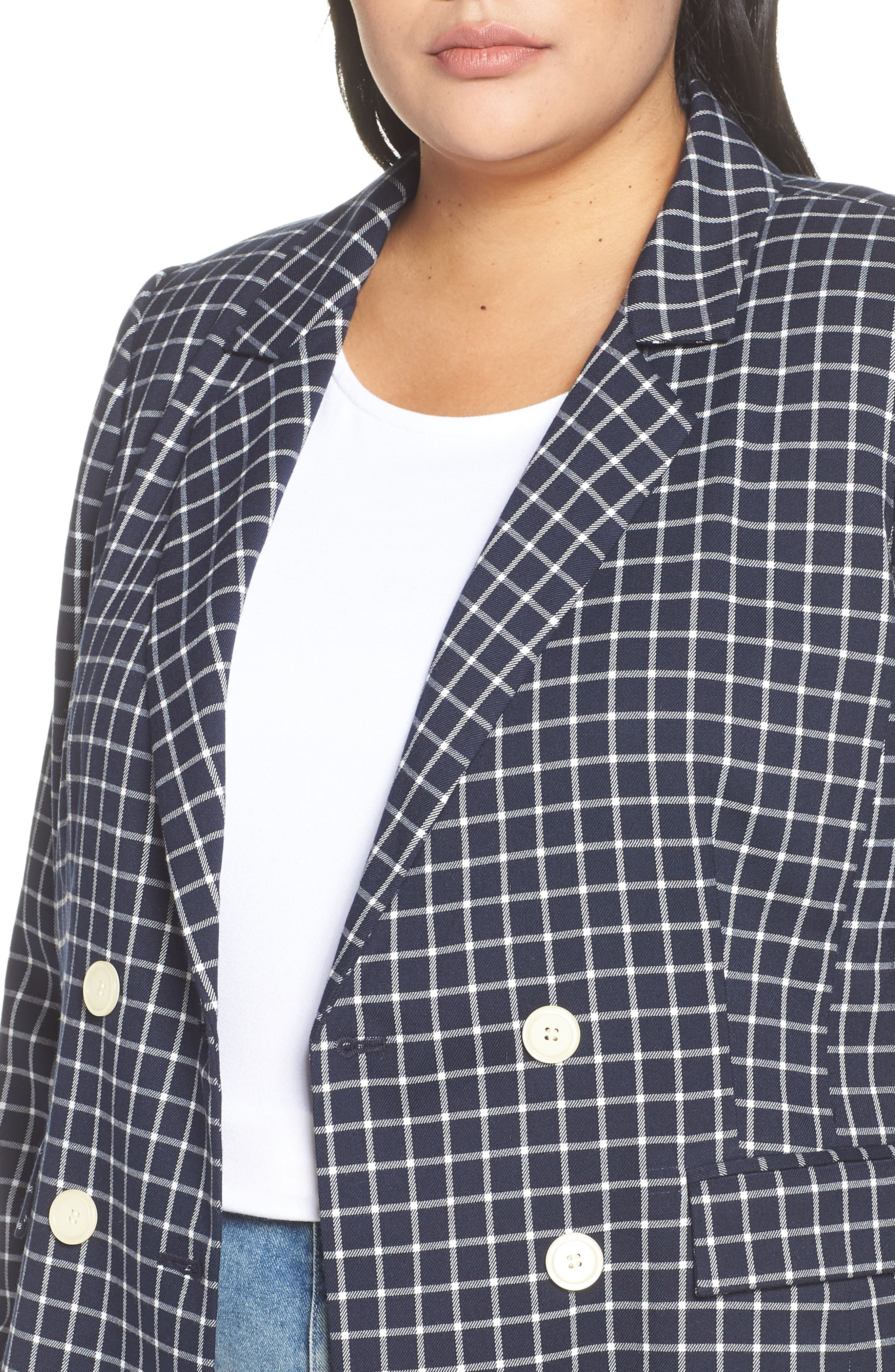 HALOGEN<SUP>®</SUP>, Double Breasted Check Blazer, Alternate thumbnail 5, color, NAVY CHECK