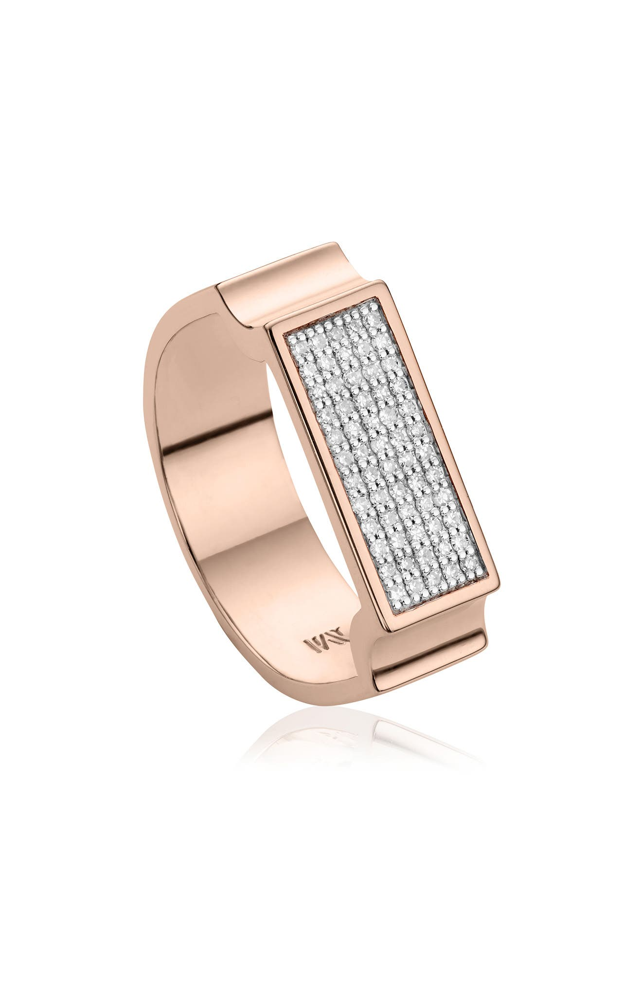 MONICA VINADER, Diamond Signature Wide Ring, Main thumbnail 1, color, ROSE GOLD/ DIAMOND