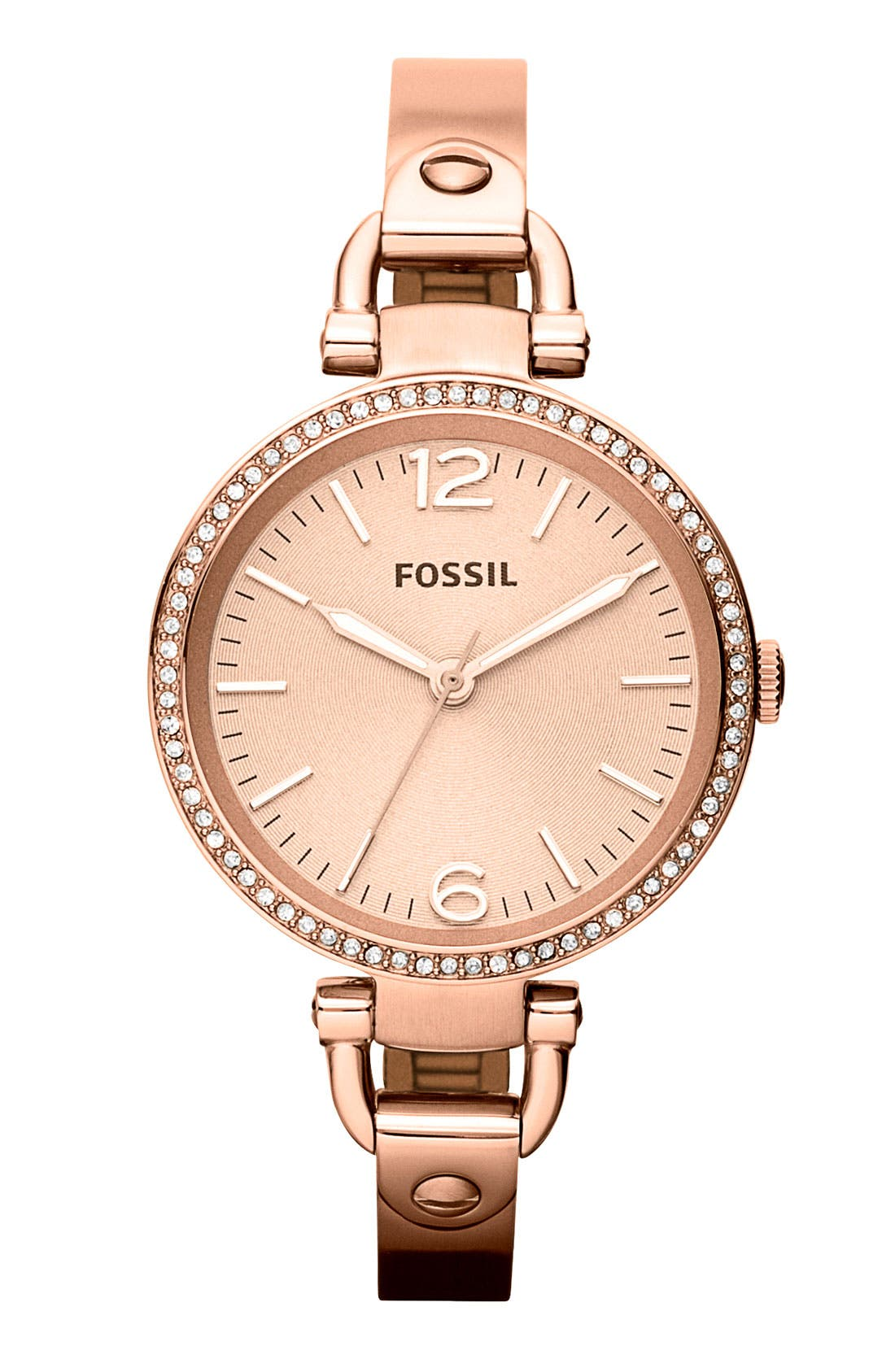 FOSSIL, 'Georgia' Crystal Bezel Watch, 32mm, Main thumbnail 1, color, ROSE GOLD