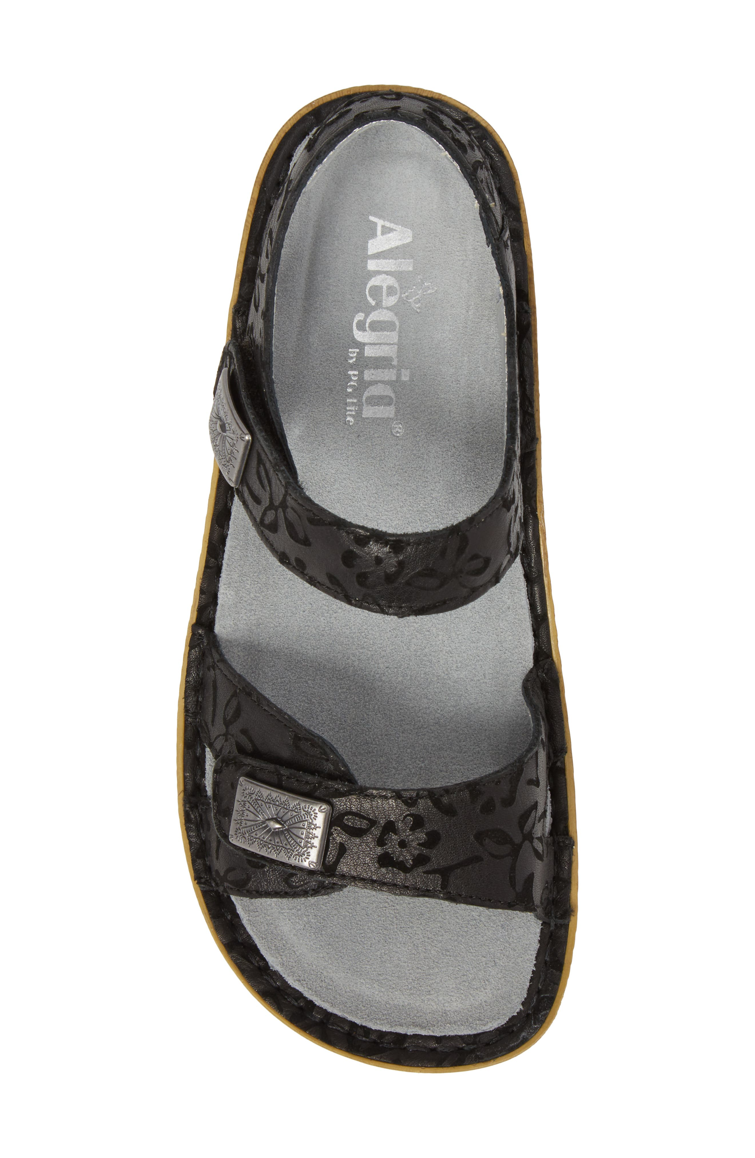 ALEGRIA, Vienna Sandal, Alternate thumbnail 5, color, MORNING GLORY BLACK LEATHER