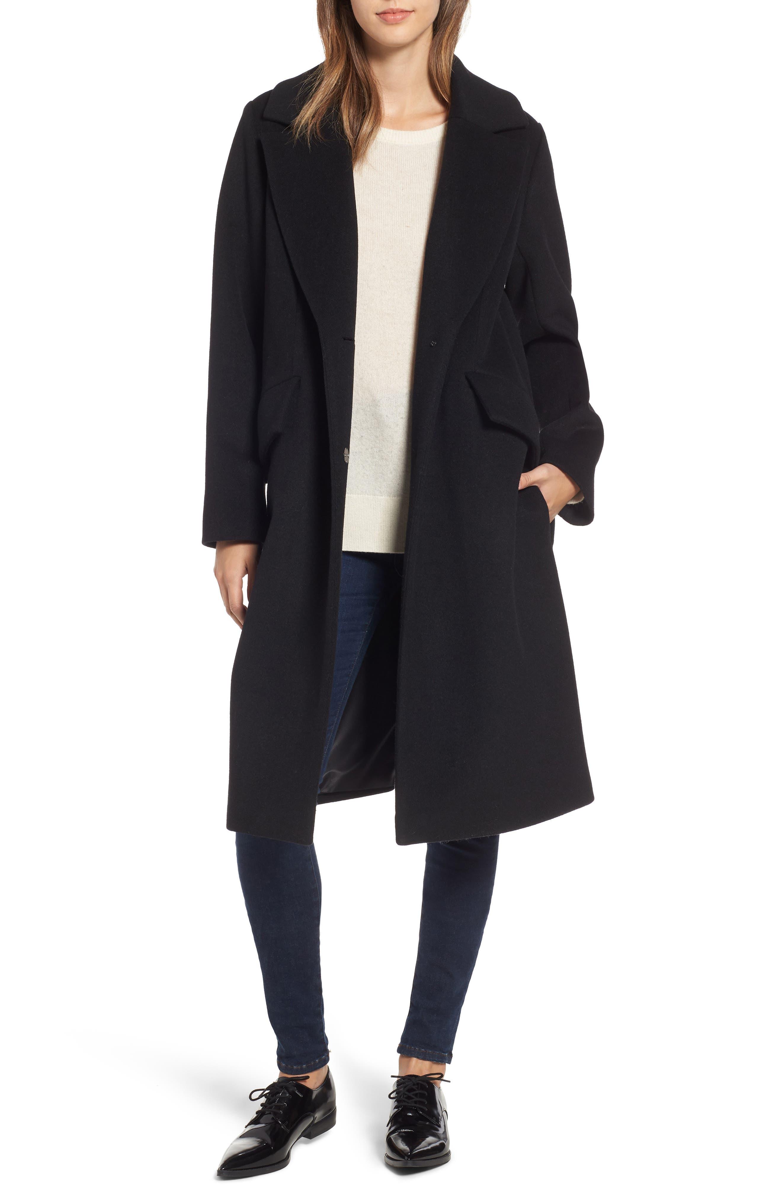 RACHEL RACHEL ROY, Wool Blend Coat, Main thumbnail 1, color, BLACK