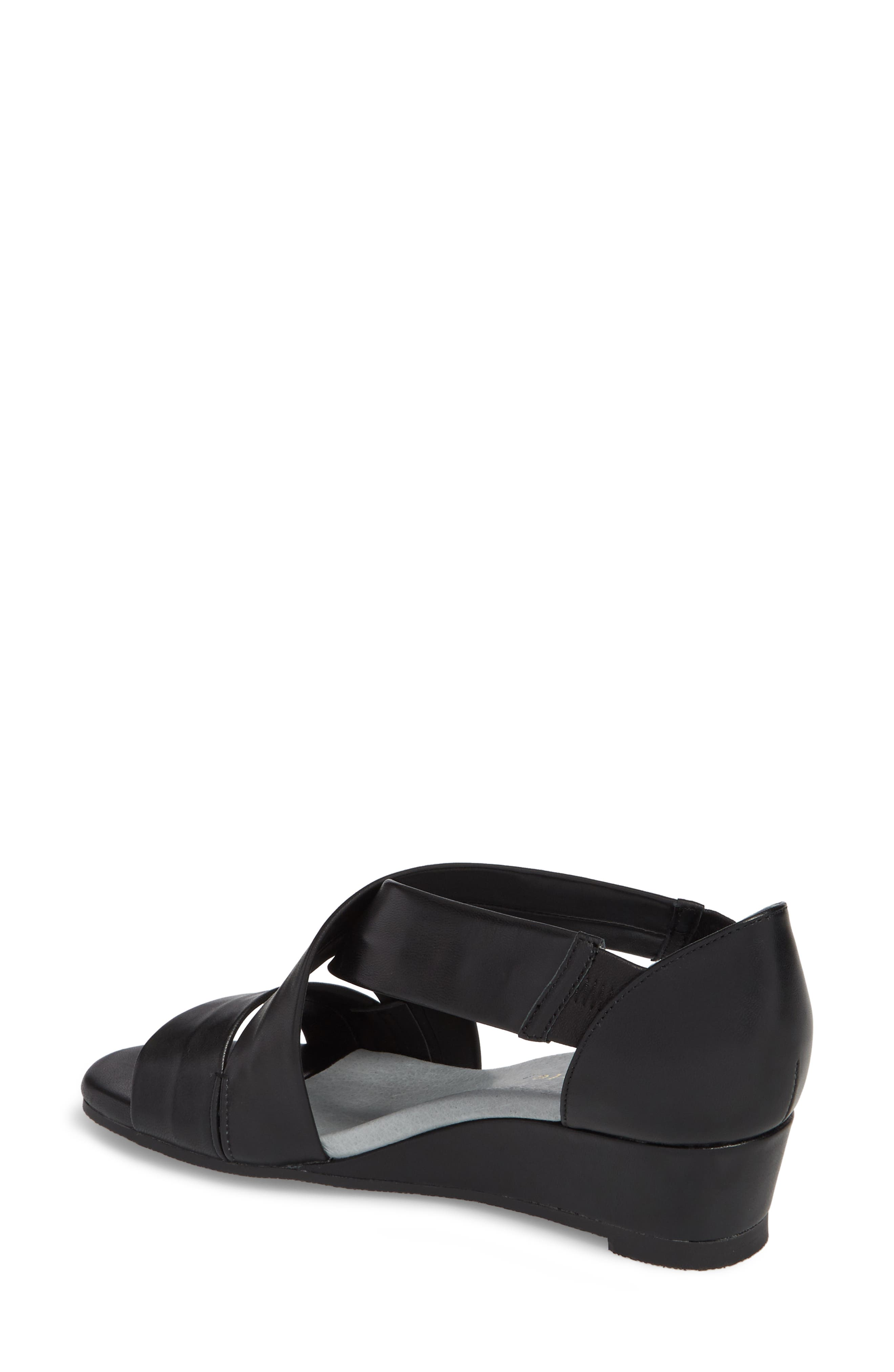 DAVID TATE, Swell Cross Strap Wedge Sandal, Alternate thumbnail 2, color, BLACK LEATHER