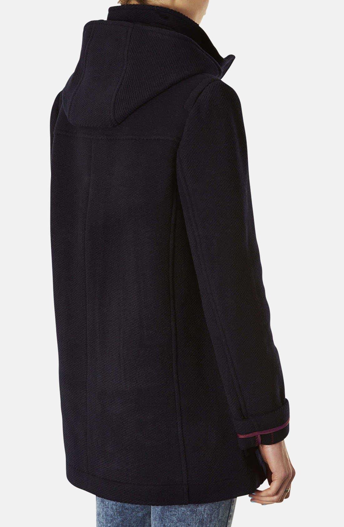 TOPSHOP, Hooded Toggle Duffle Coat, Alternate thumbnail 4, color, 410