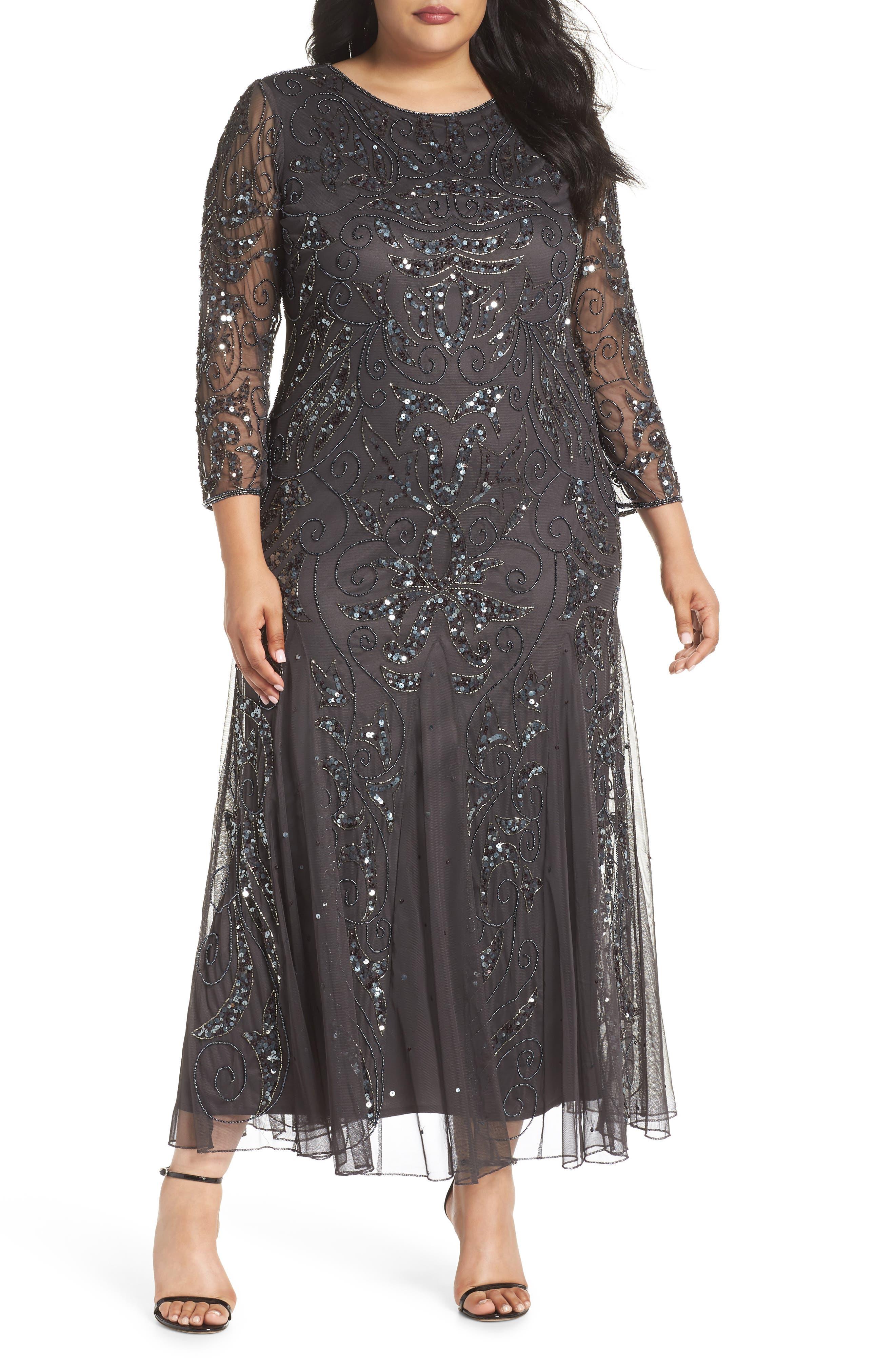 Plus Size Pisarro Nights Embellished Three Quarter Sleeve Gown, Grey