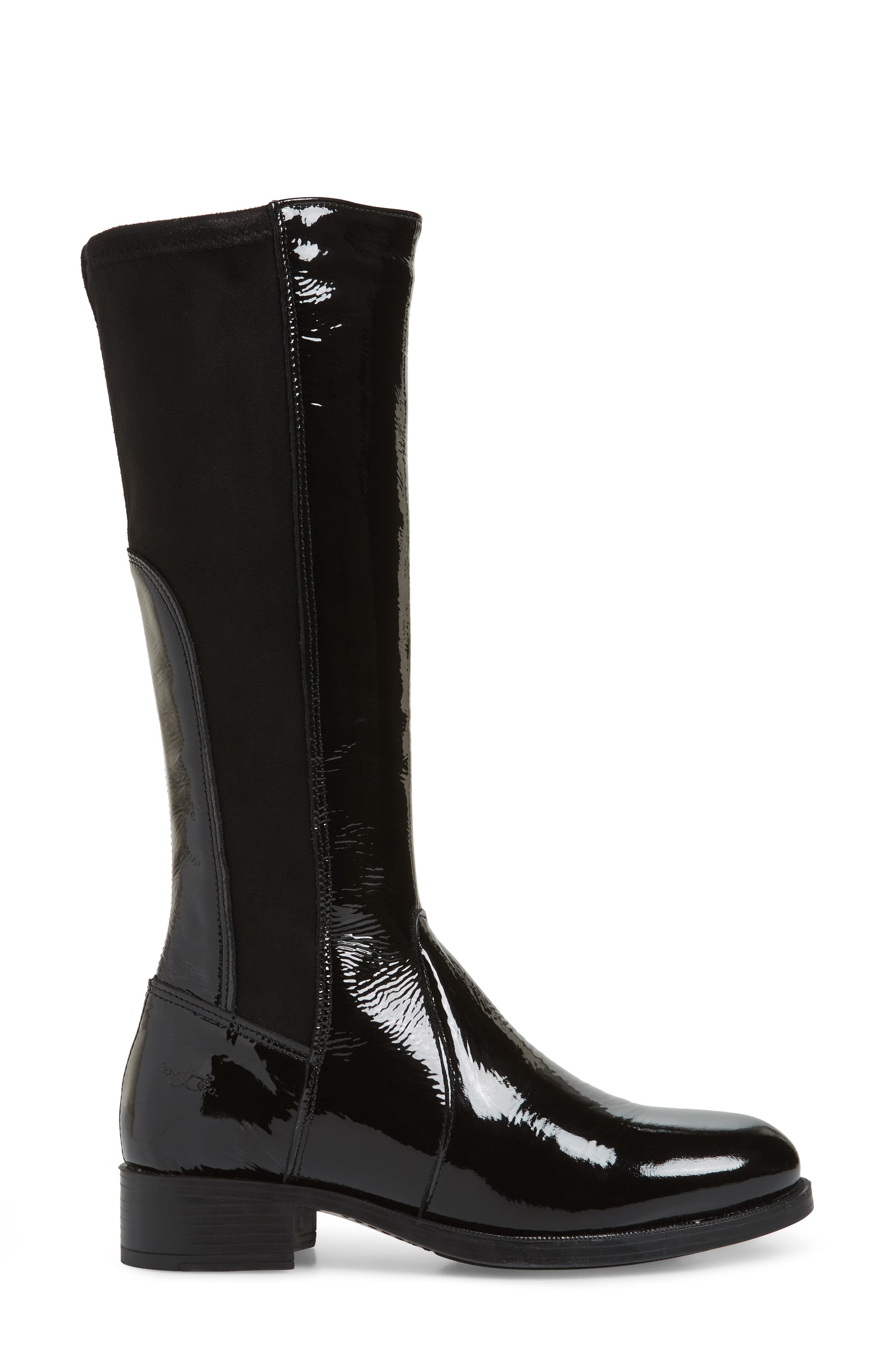 BOS. & CO., Brook Waterproof Knee High Boot, Alternate thumbnail 3, color, BLACK PATENT LEATHER