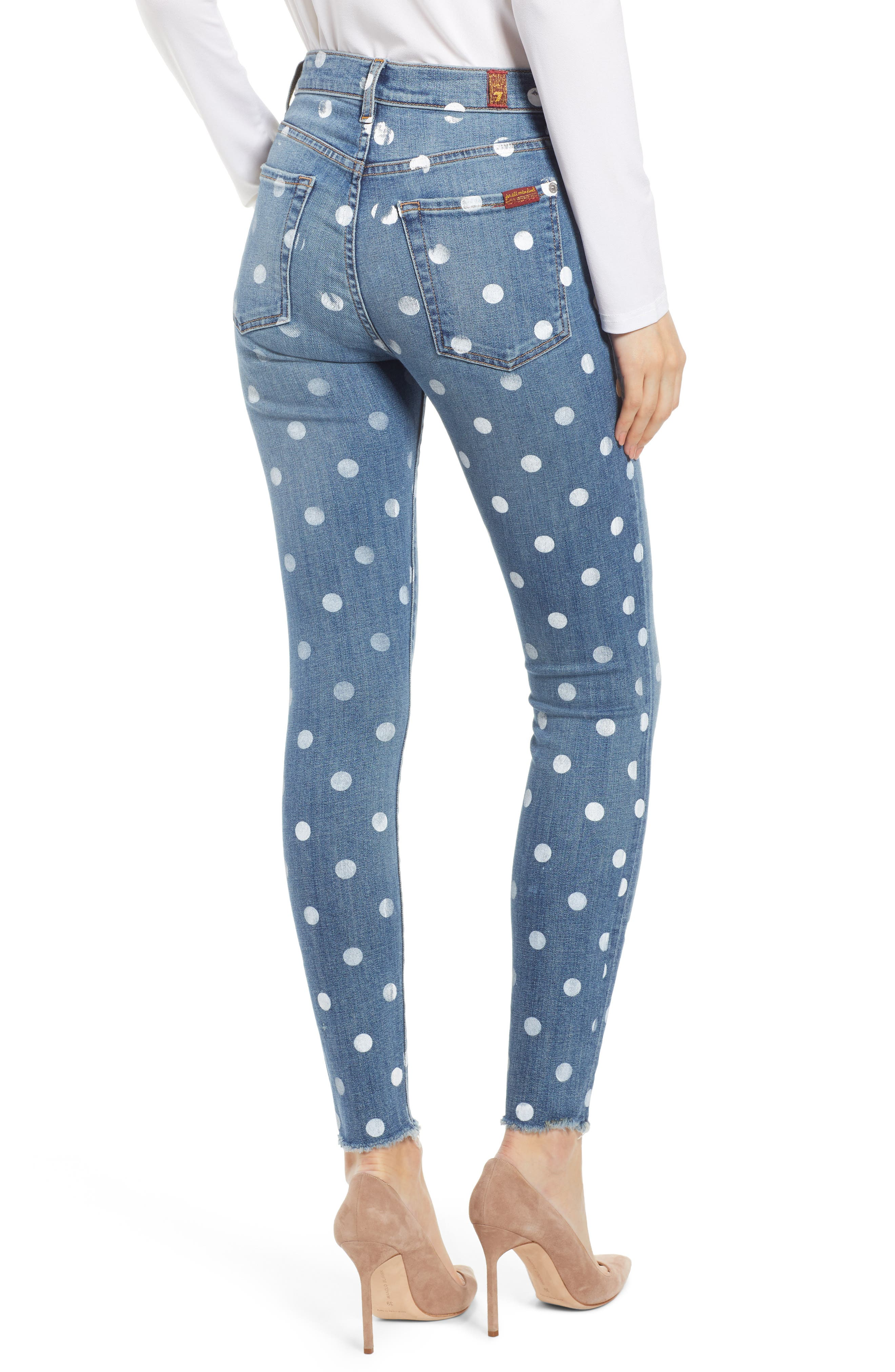 7 FOR ALL MANKIND<SUP>®</SUP>, Polka Dot High Waist Ankle Skinny Jeans, Alternate thumbnail 2, color, RIDGEMONT VINTAGE