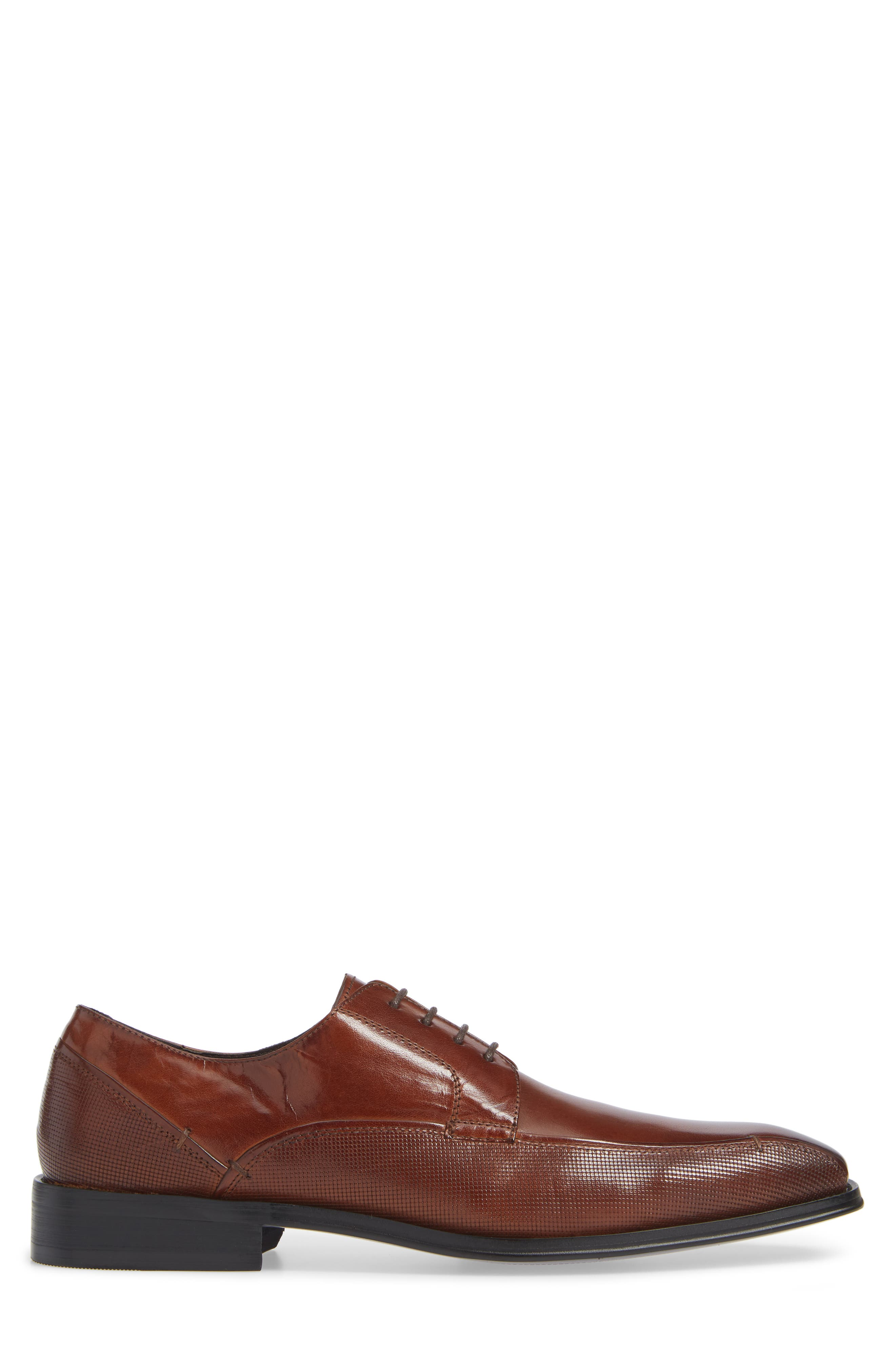 REACTION KENNETH COLE, Witter Textured Bike Toe Derby, Alternate thumbnail 3, color, COGNAC LEATHER