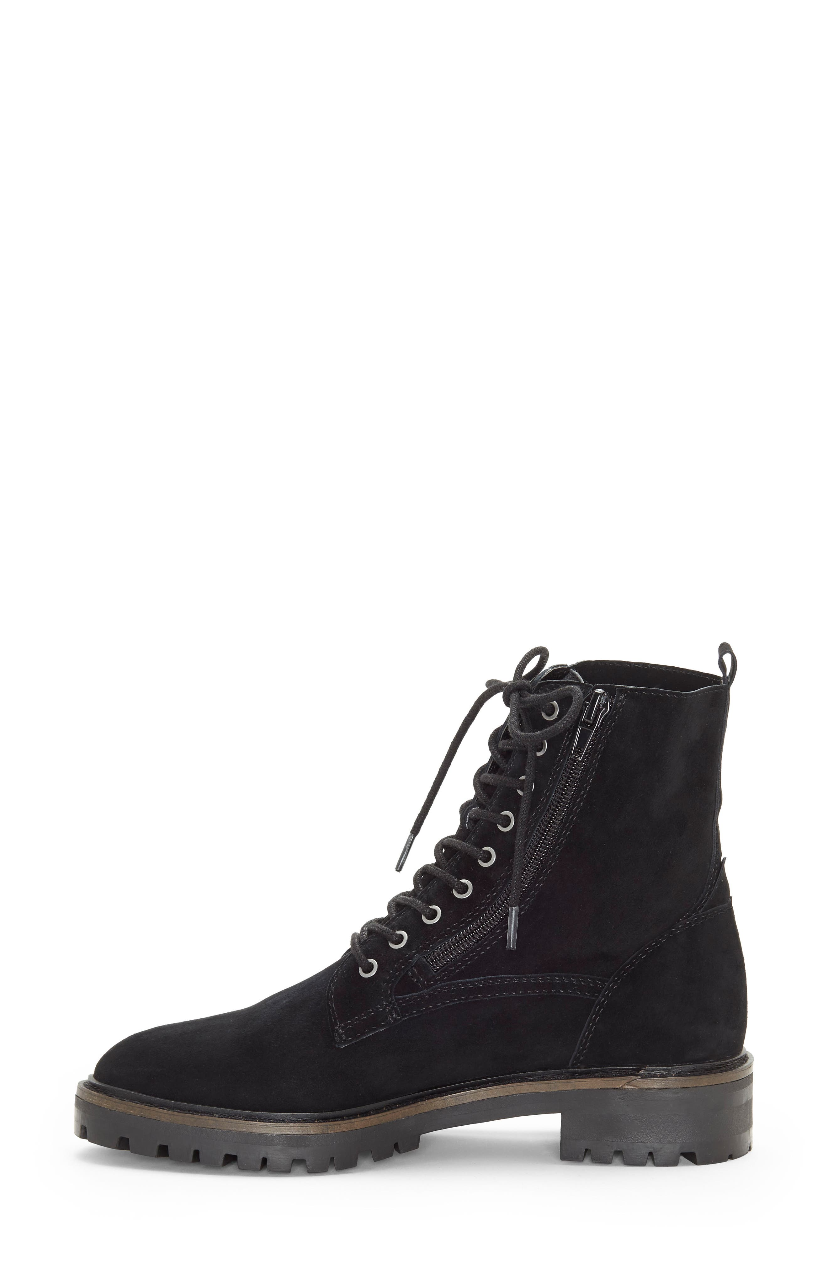 LUCKY BRAND, Idara Lace-Up Bootie, Alternate thumbnail 2, color, 001