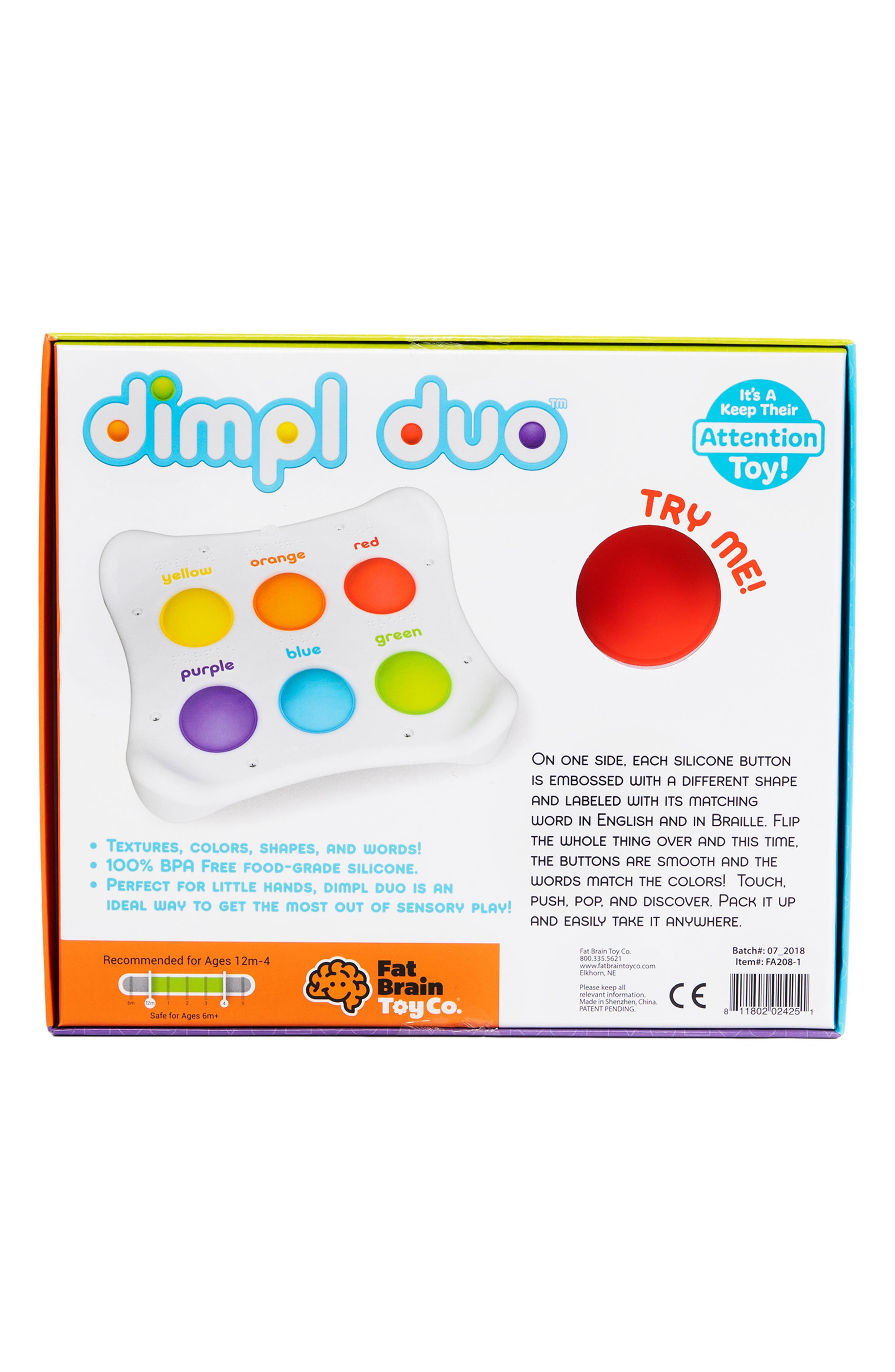FAT BRAIN TOYS, Dimpl Duo<sup>™</sup> Silicone Button Toy, Alternate thumbnail 2, color, WHITE