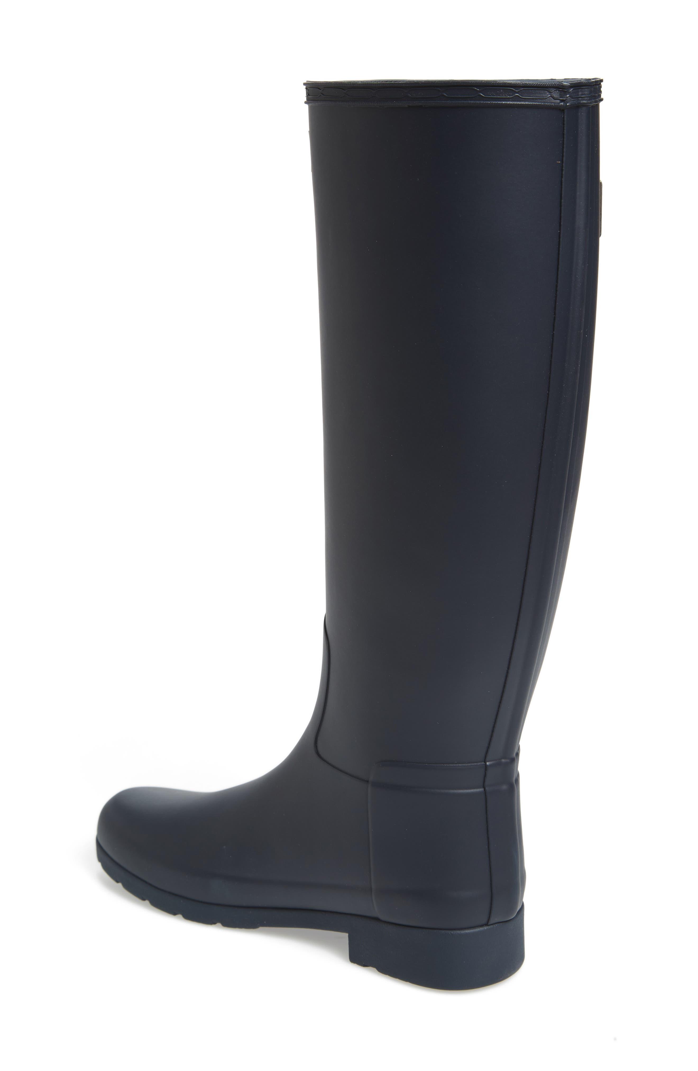 HUNTER, Original Refined Waterproof Rain Boot, Alternate thumbnail 2, color, NAVY