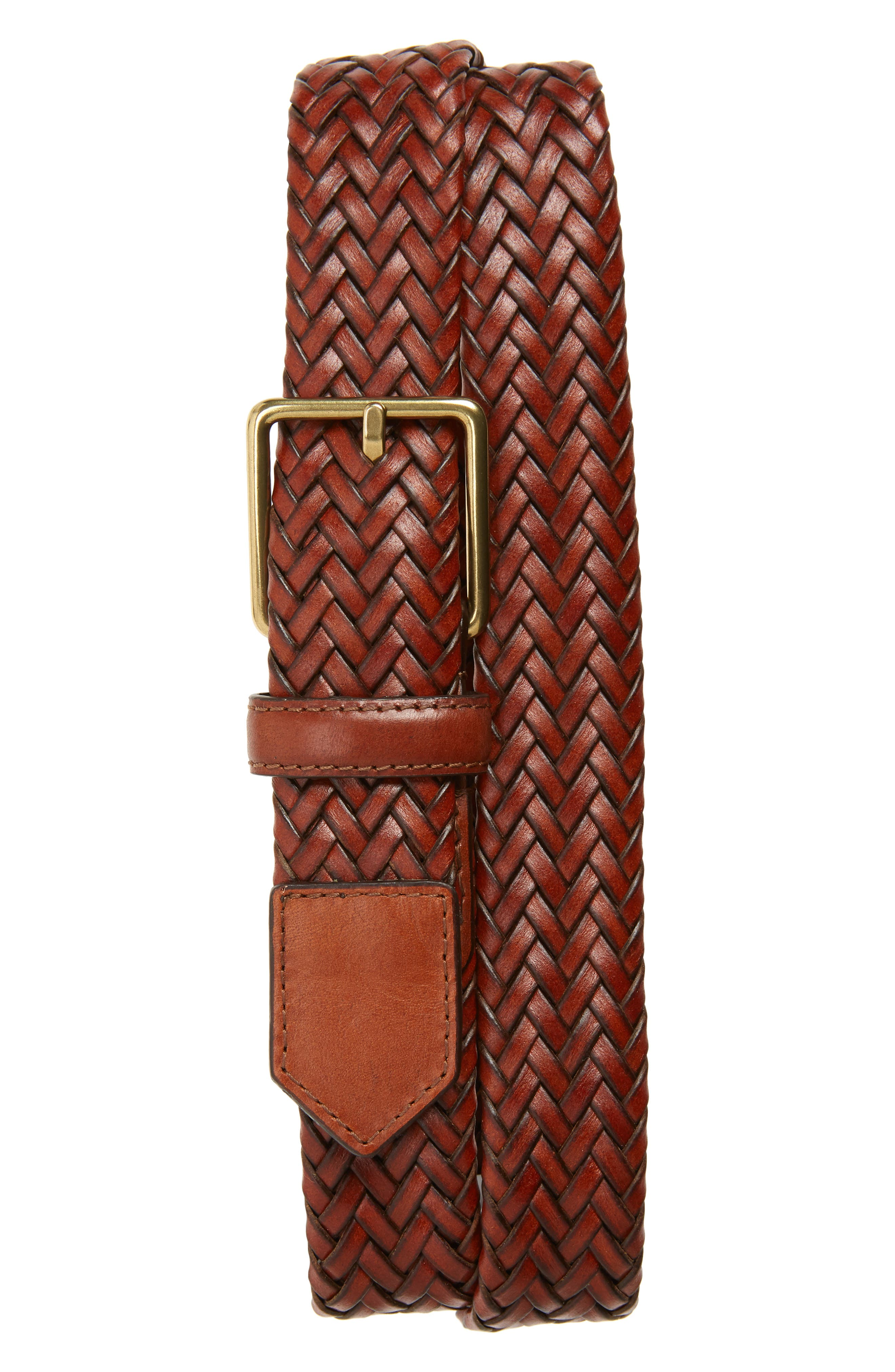 COLE HAAN, Woven Leather Belt, Main thumbnail 1, color, WOODBURY