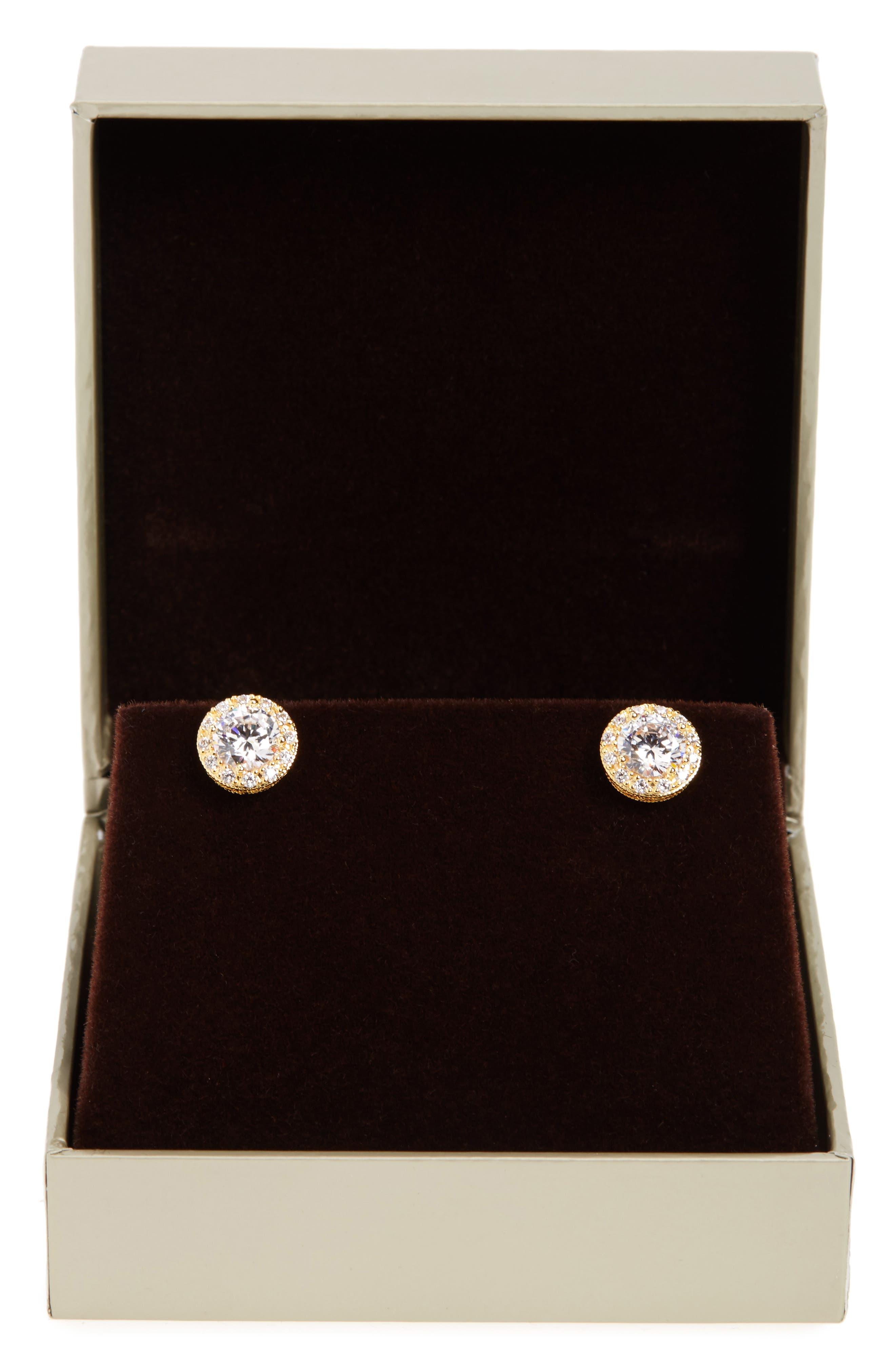 NORDSTROM, Pavé Stud Earrings, Alternate thumbnail 5, color, GOLD