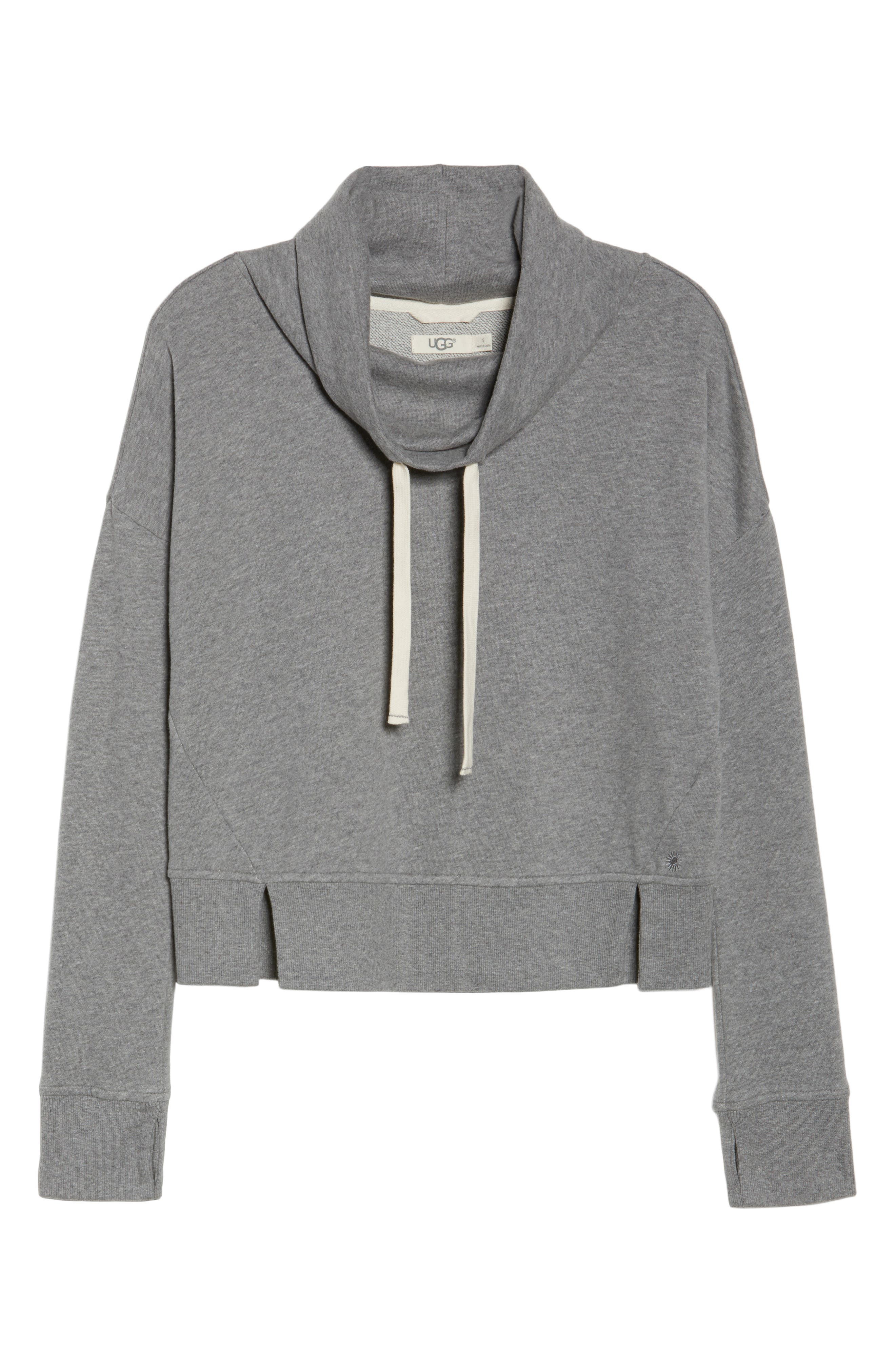 UGG<SUP>®</SUP>, Miya Funnel Neck Sweatshirt, Alternate thumbnail 6, color, GREY HEATHER