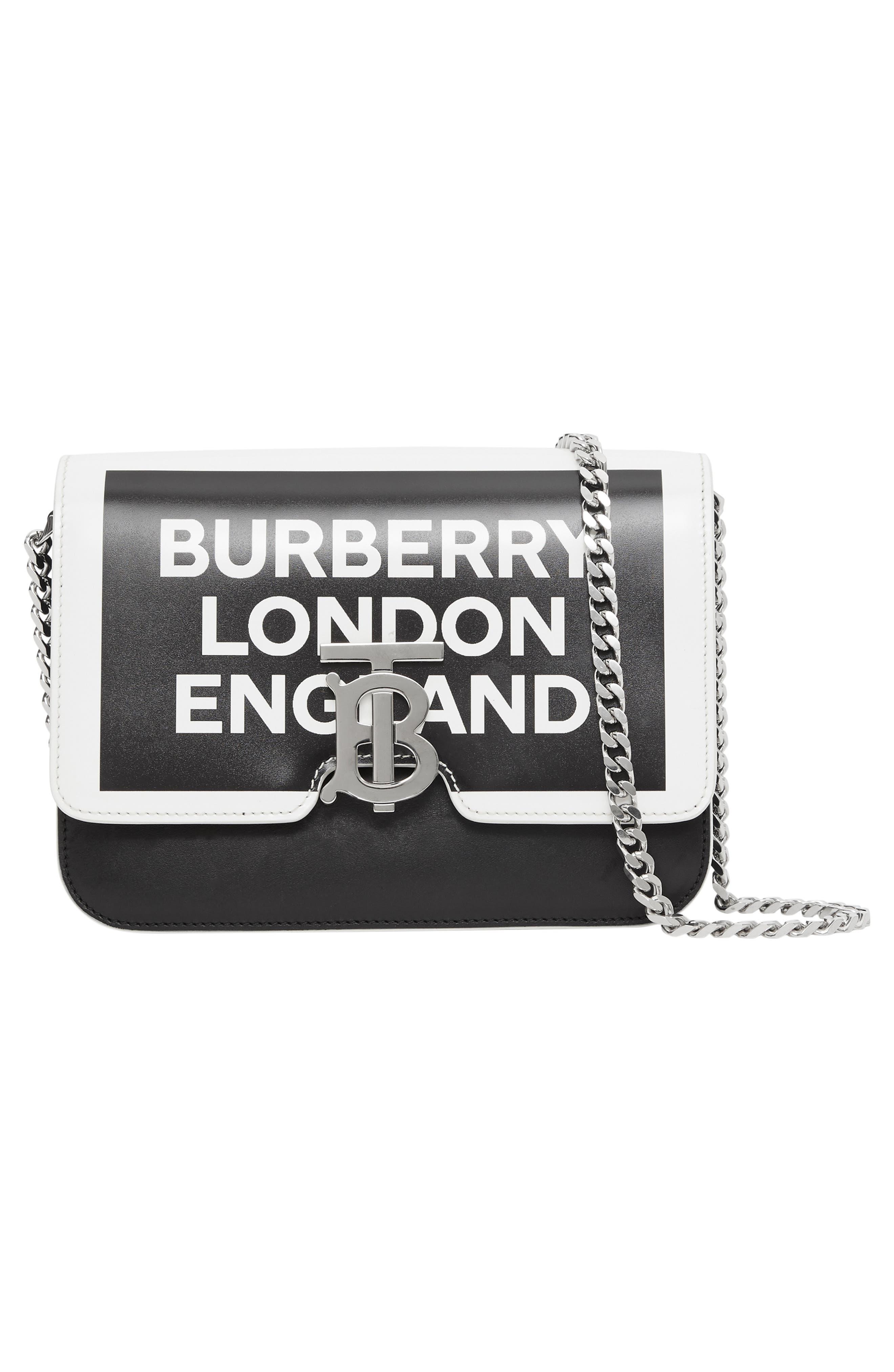 BURBERRY, Small Painted Edge Logo TB Crossbody Bag, Alternate thumbnail 8, color, 001