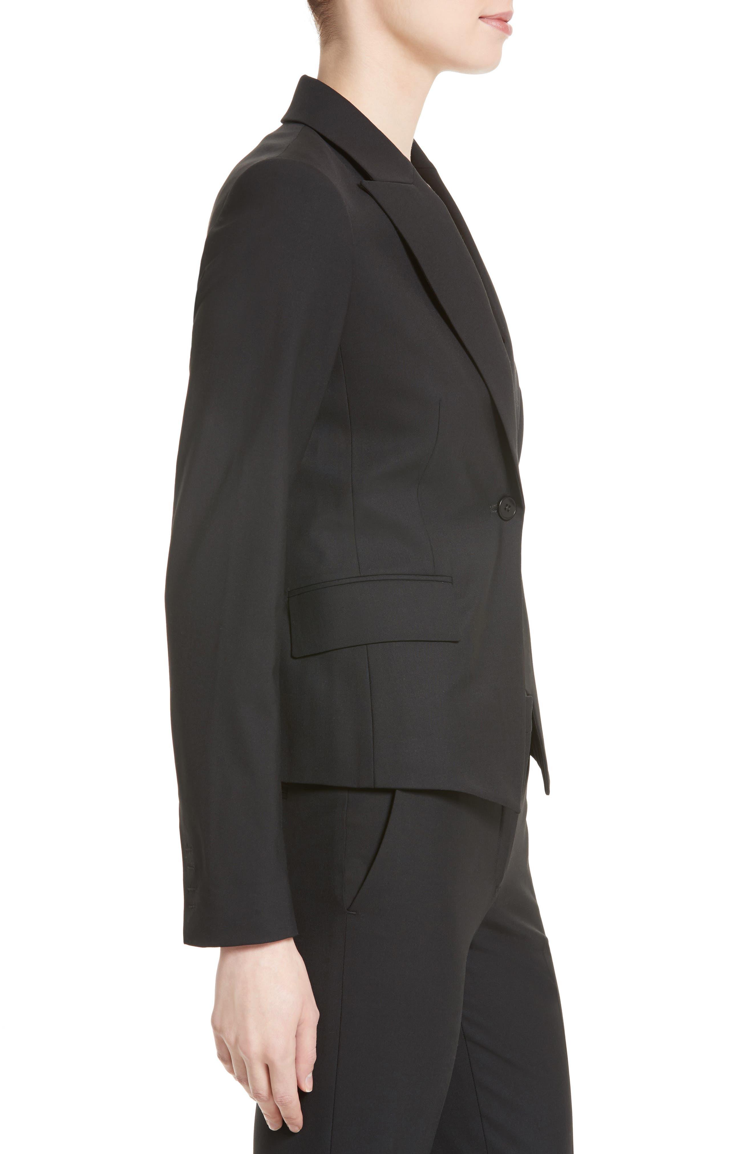 THEORY, Brince B Good Wool Suit Jacket, Alternate thumbnail 4, color, BLACK