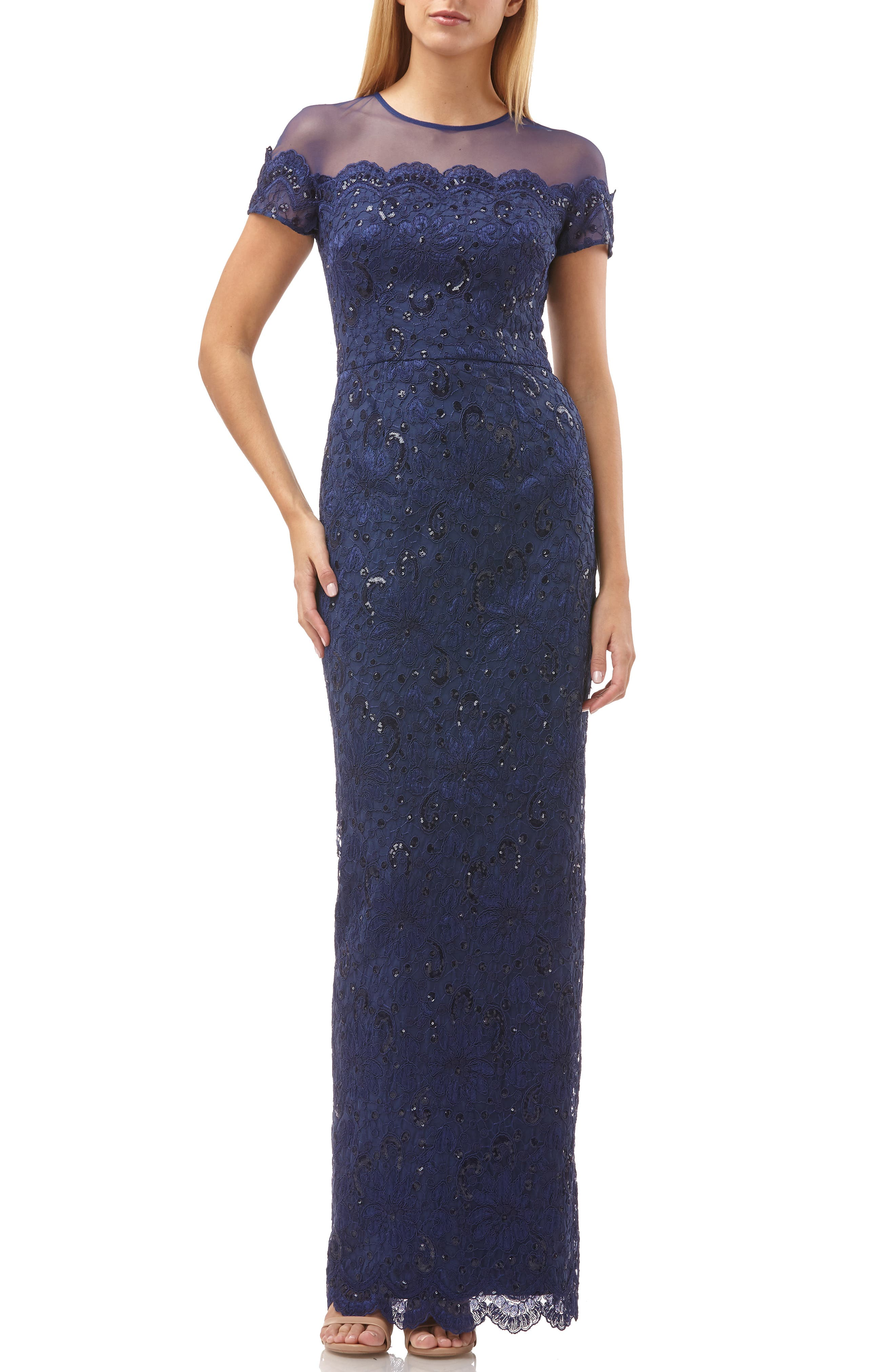 Js Collections Sequin Lace Gown, Blue