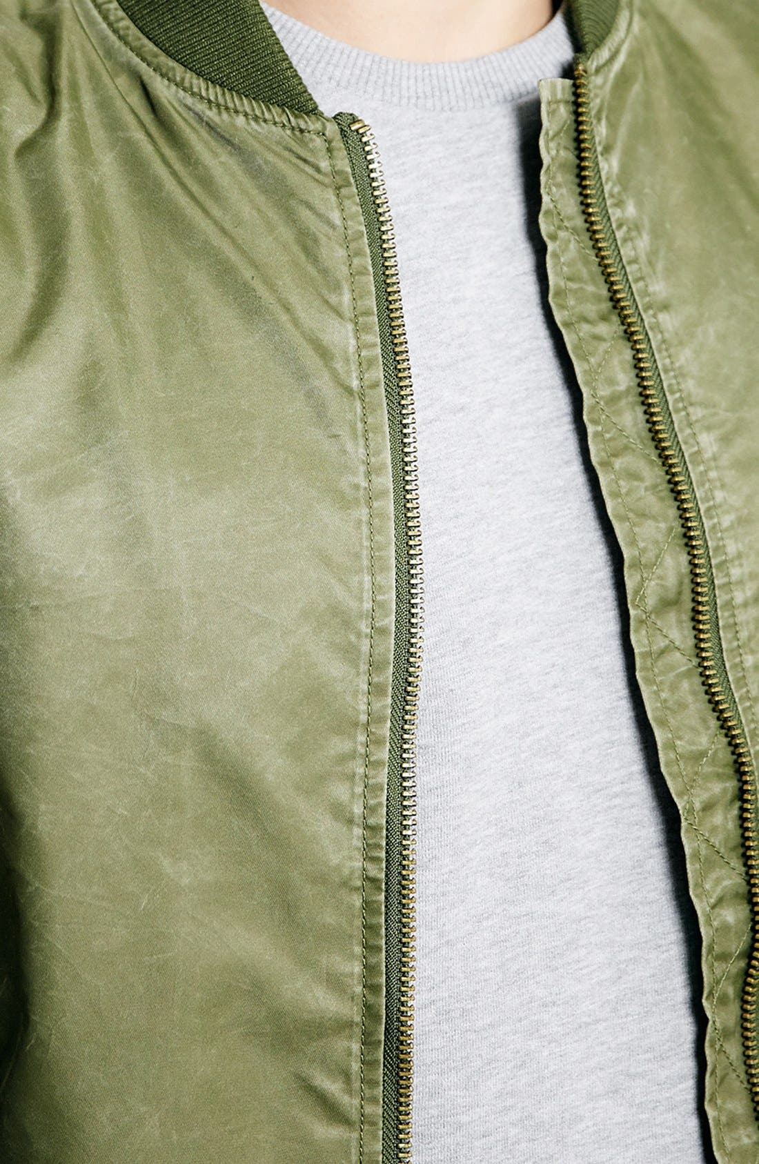 TOPMAN, Brushed Nylon Bomber Jacket, Alternate thumbnail 2, color, 300