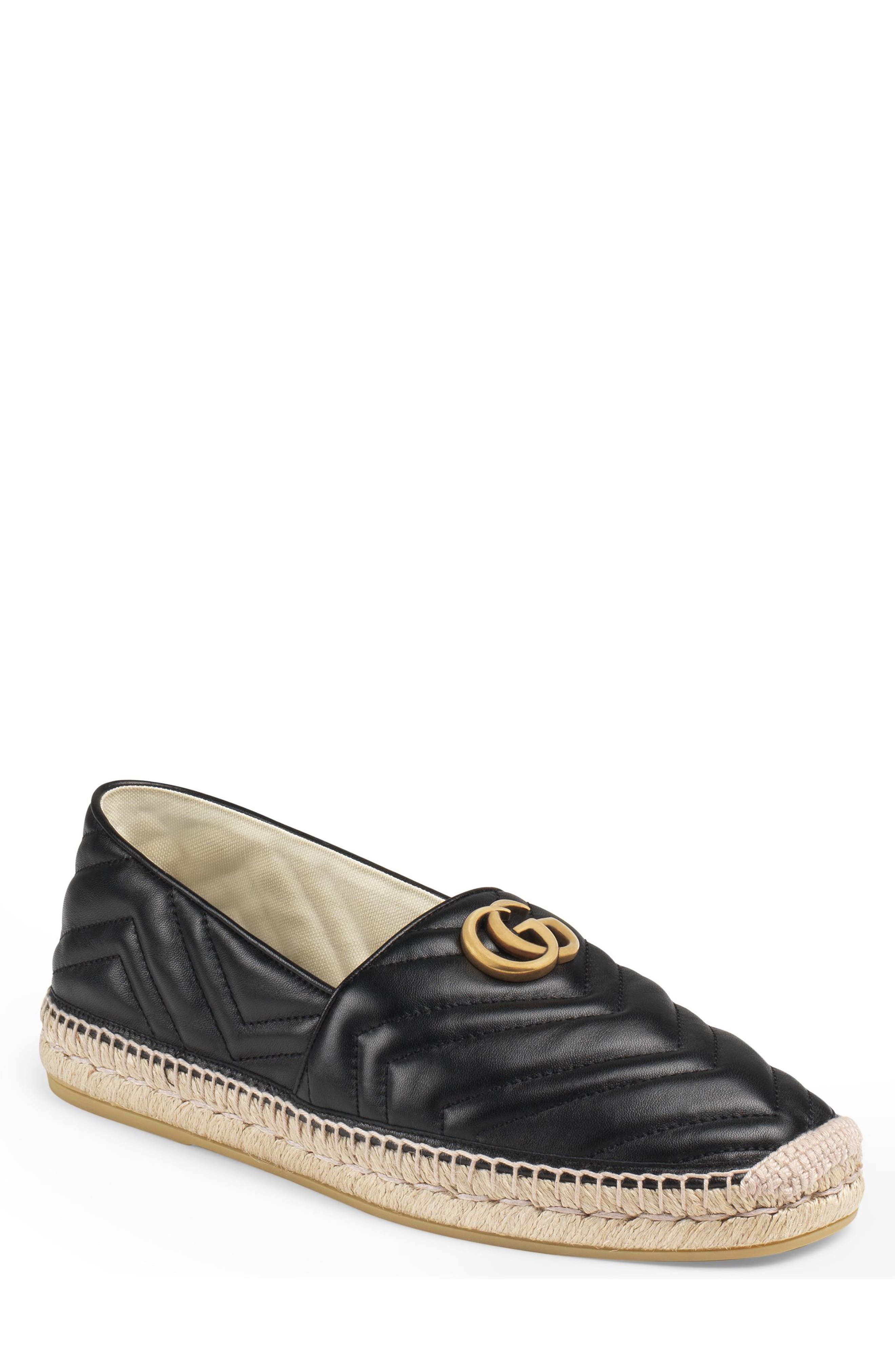GUCCI, Alejandro Quilted Espadrille, Main thumbnail 1, color, NERO