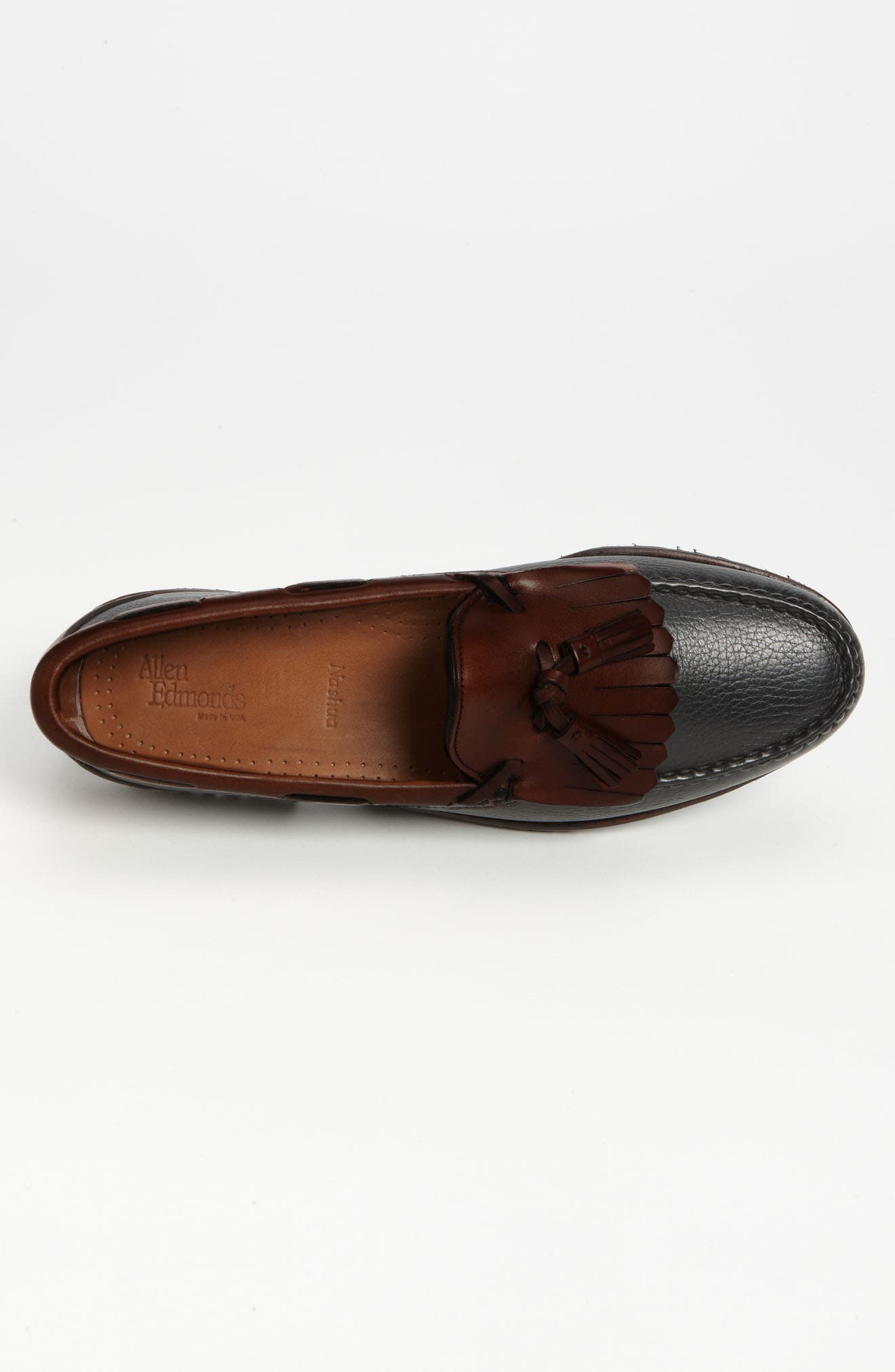 ALLEN EDMONDS, 'Nashua' Tassel Loafer, Alternate thumbnail 3, color, BLACK/ BROWN