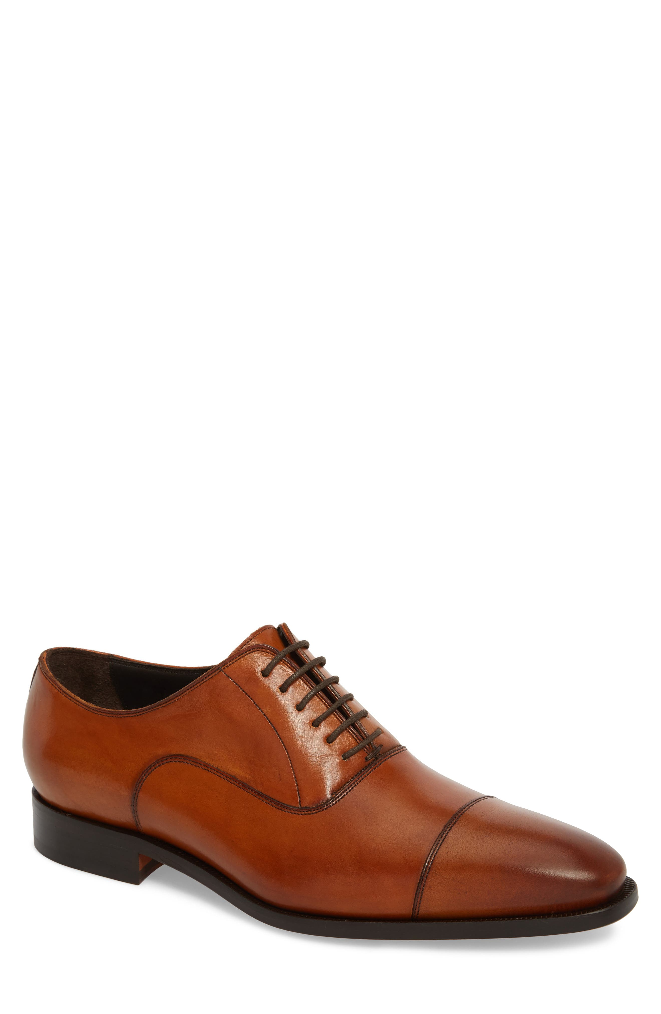TO BOOT NEW YORK, Knoll Cap Toe Oxford, Main thumbnail 1, color, COGNAC LEATHER