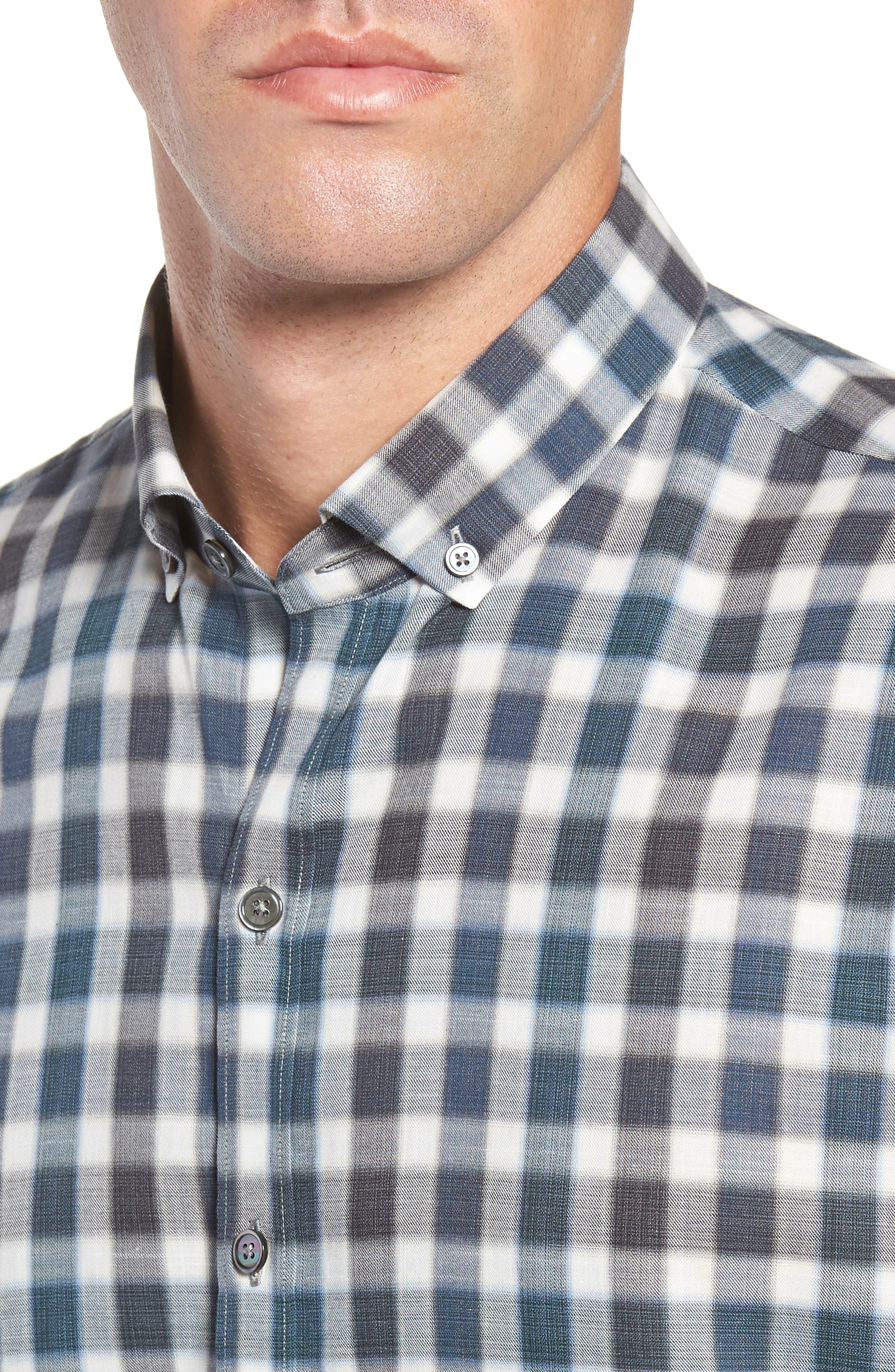 ZACHARY PRELL, Buffa Regular Fit Plaid Flannel Sport Shirt, Alternate thumbnail 2, color, DARK TEAL