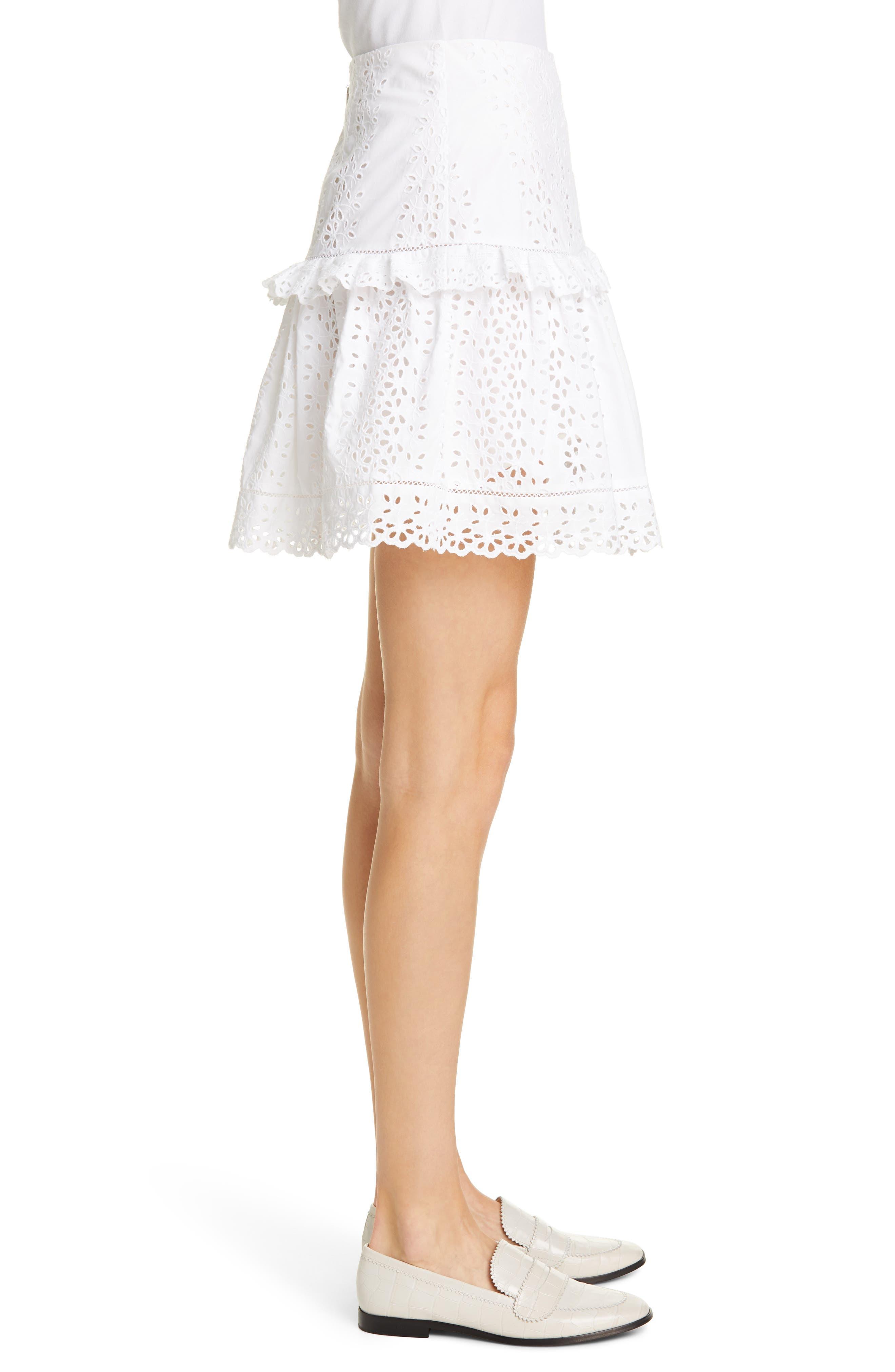 REBECCA TAYLOR, Karina Cotton Eyelet Skirt, Alternate thumbnail 3, color, MILK