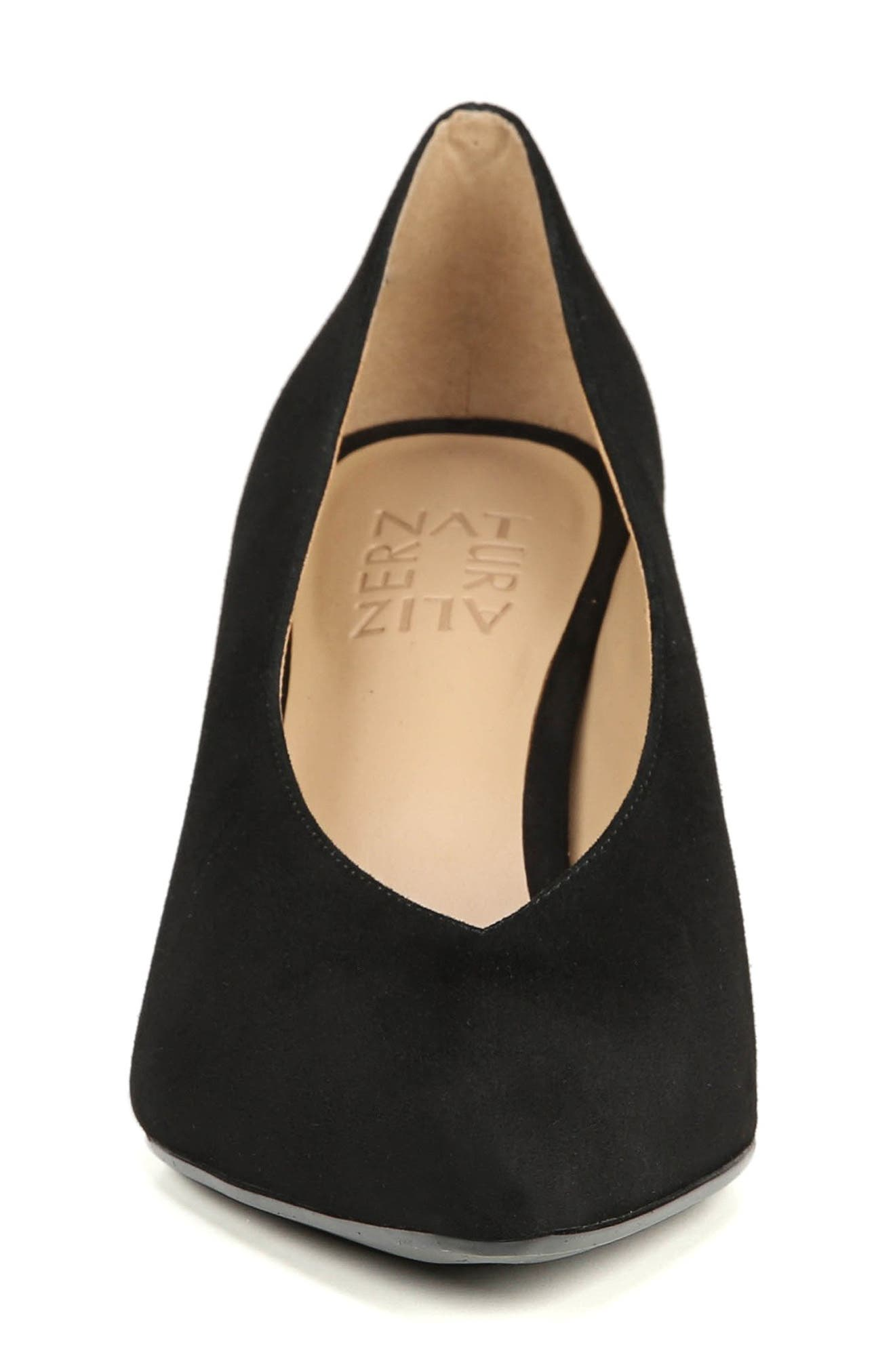 NATURALIZER, Hope Pointy Toe Pump, Alternate thumbnail 3, color, BLACK SUEDE