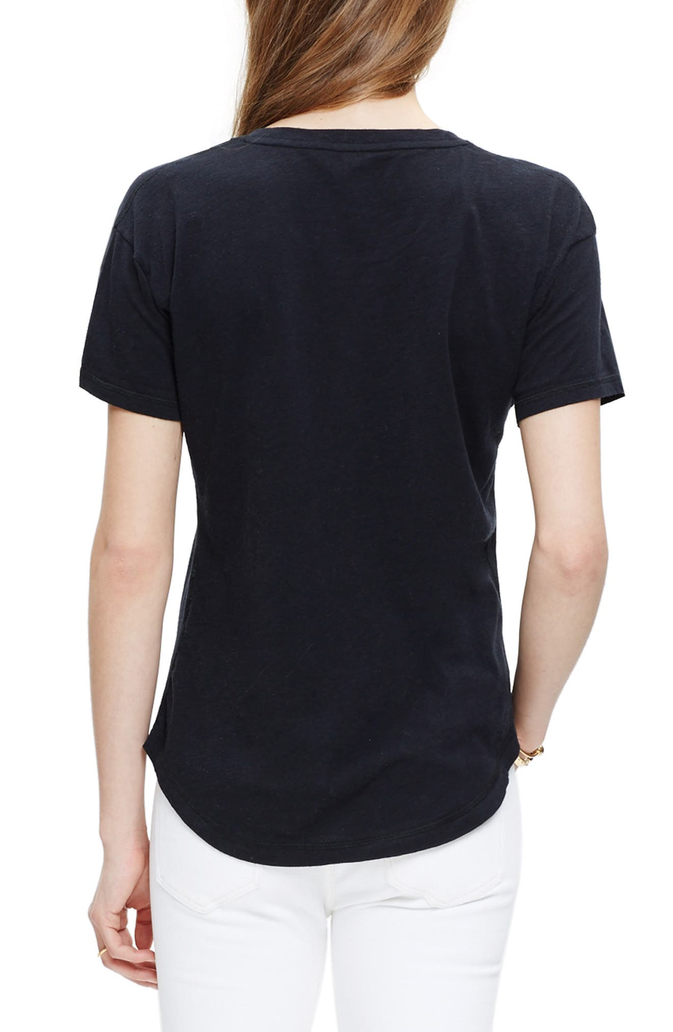MADEWELL, 'Whisper' Cotton Crewneck Tee, Alternate thumbnail 2, color, TRUE BLACK
