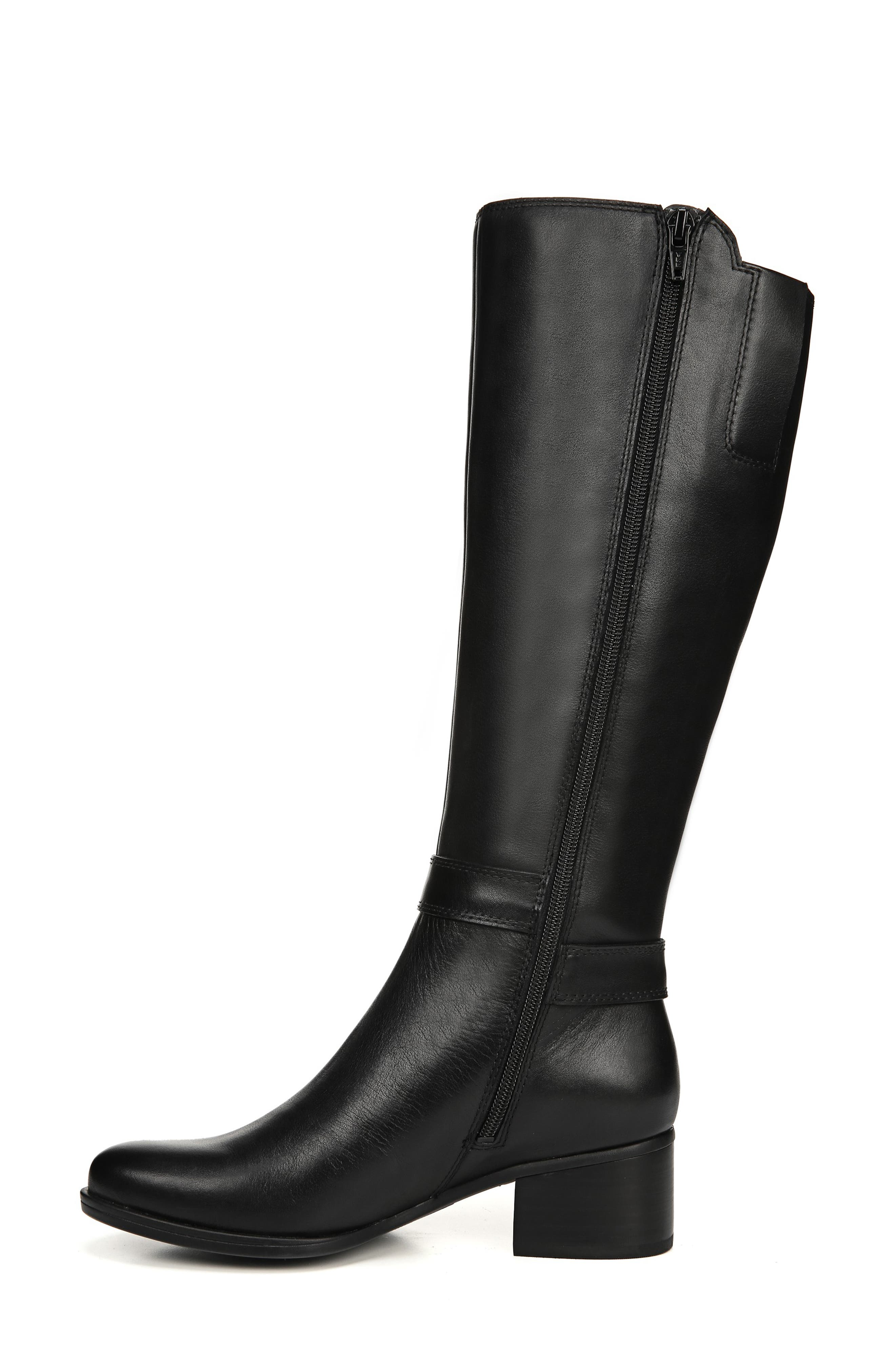 NATURALIZER, Dane Knee High Riding Boot, Alternate thumbnail 9, color, BLACK LEATHER