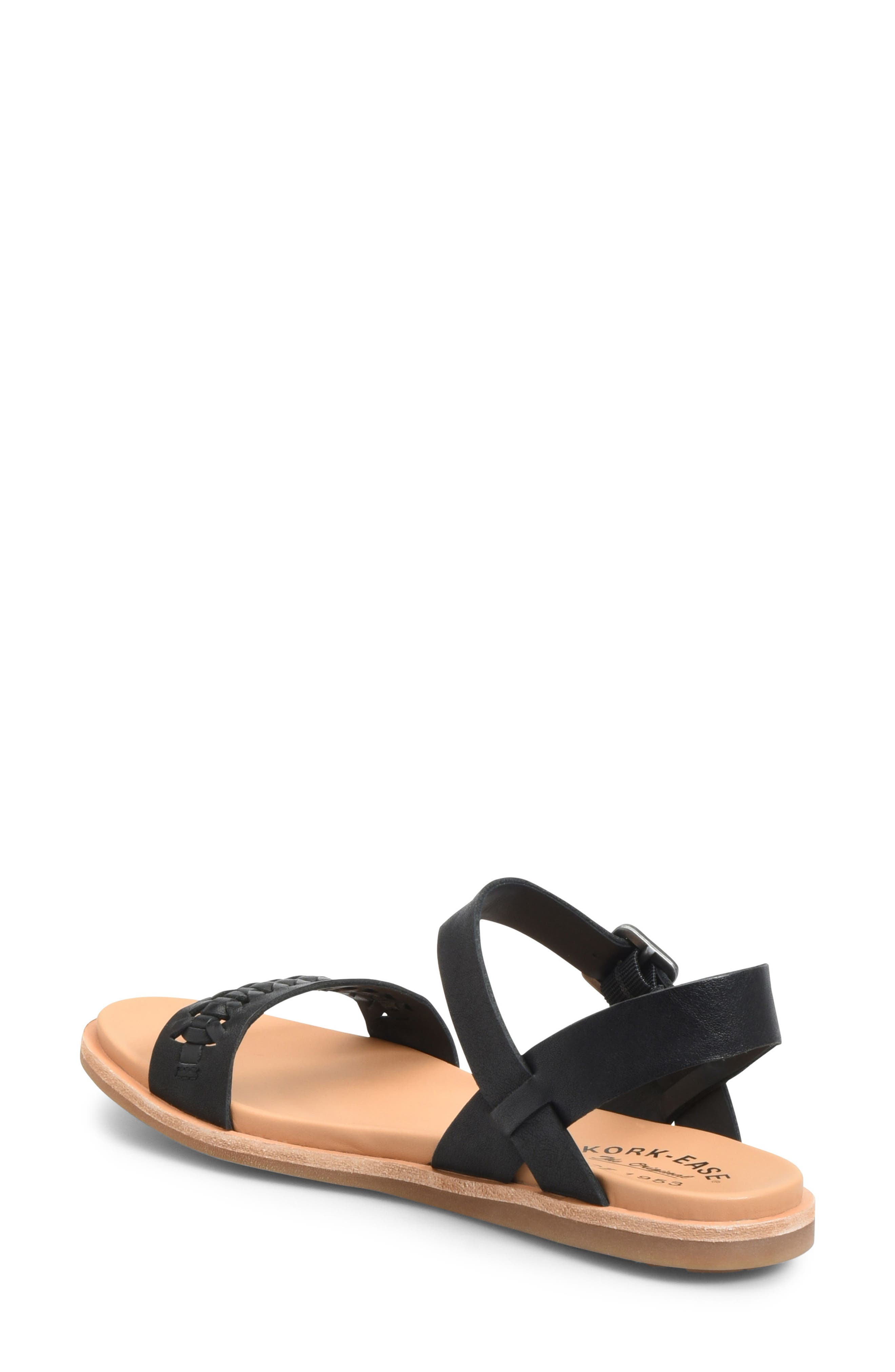 KORK-EASE<SUP>®</SUP>, Yucca Braid Sandal, Alternate thumbnail 2, color, BLACK LEATHER