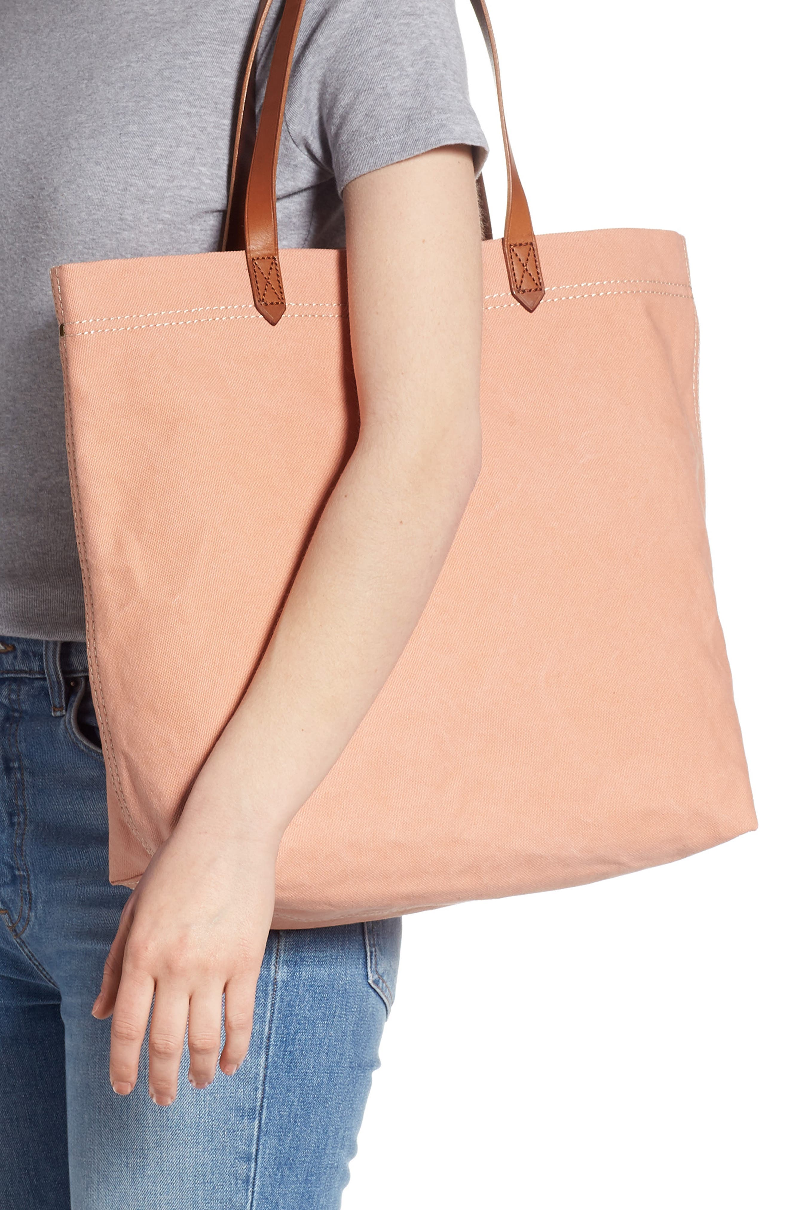 MADEWELL, Canvas Transport Tote, Alternate thumbnail 2, color, ANTIQUE CORAL