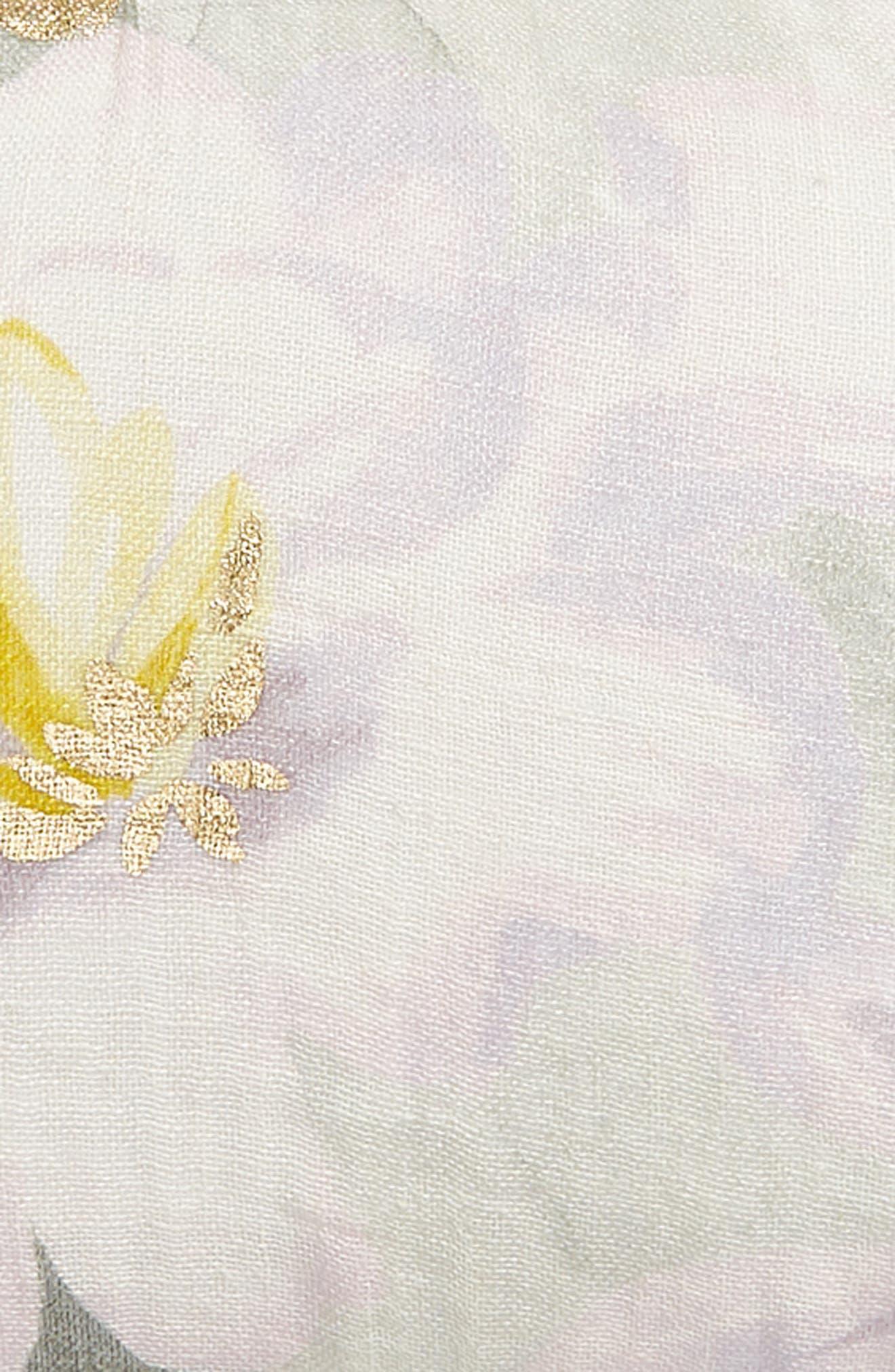 NORDSTROM AT HOME, Floral Linen Accent Pillow, Alternate thumbnail 3, color, GREY VAPOR MULTI
