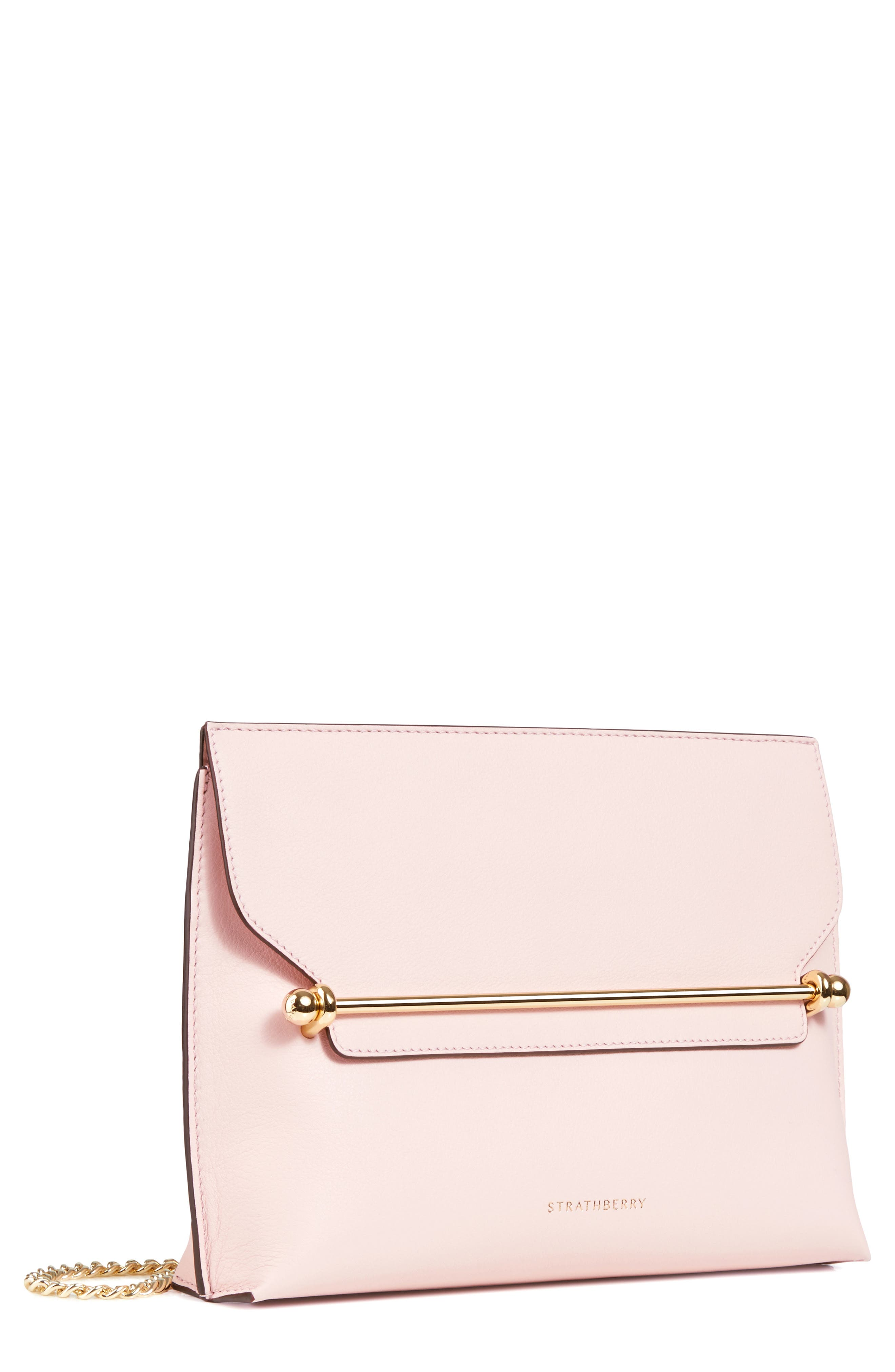 STRATHBERRY, East/West Stylist Leather Clutch, Main thumbnail 1, color, BABY PINK