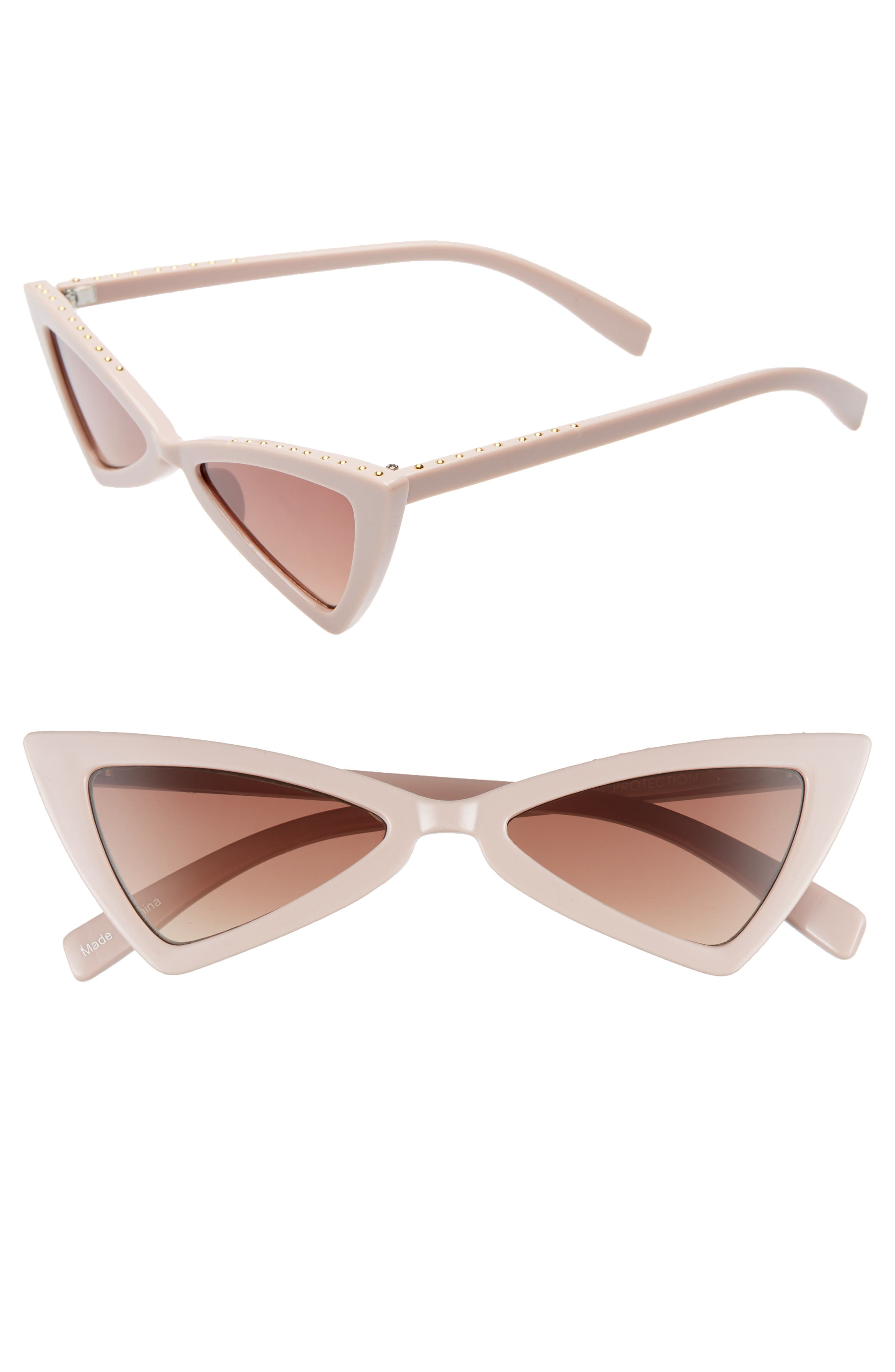LEITH, 52mm Stud Cat Eye Sunglasses, Main thumbnail 1, color, TAUPE/ GOLD