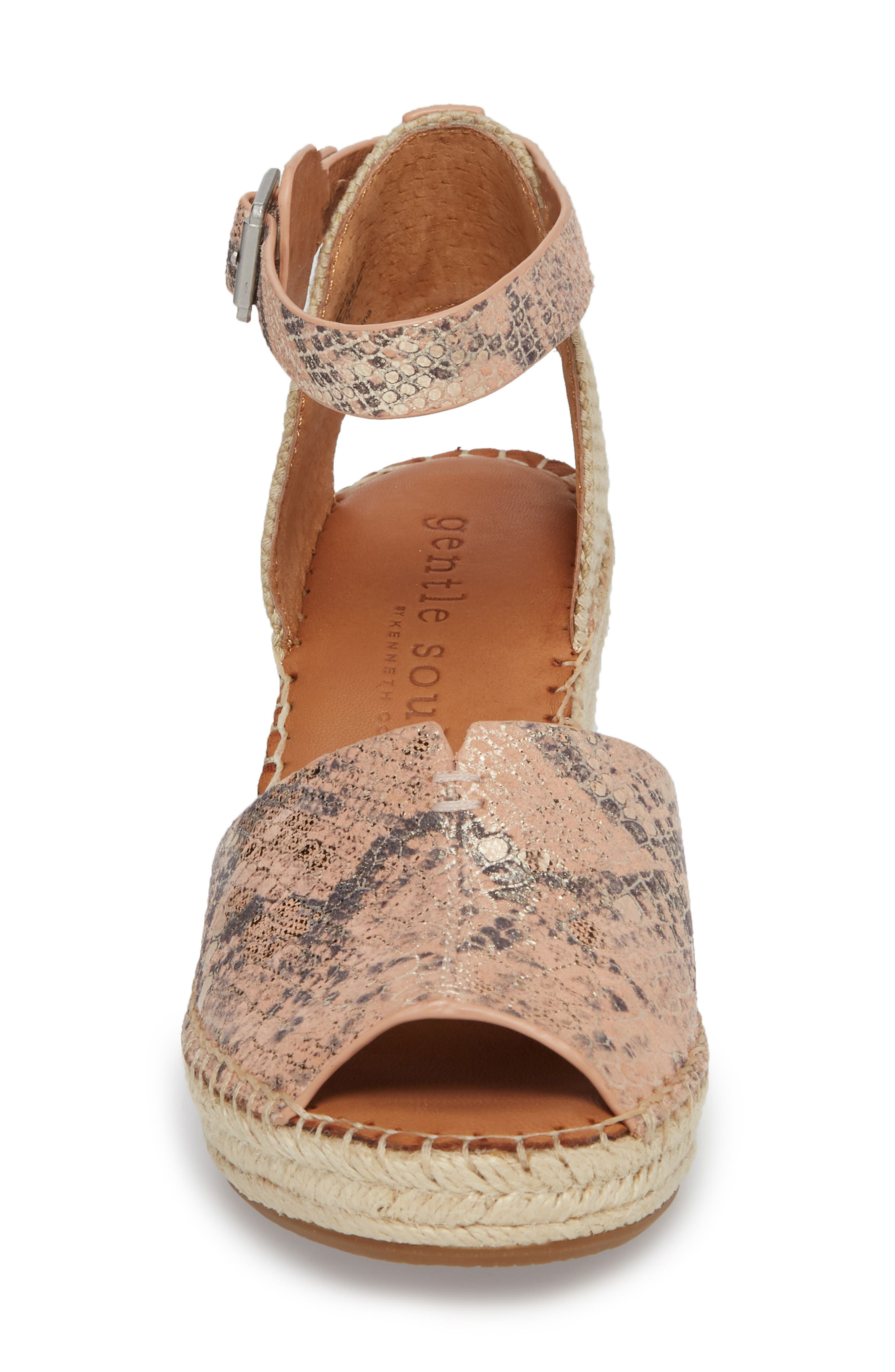 GENTLE SOULS BY KENNETH COLE, Charli Espadrille Wedge, Alternate thumbnail 4, color, ROSE METALLIC LEATHER