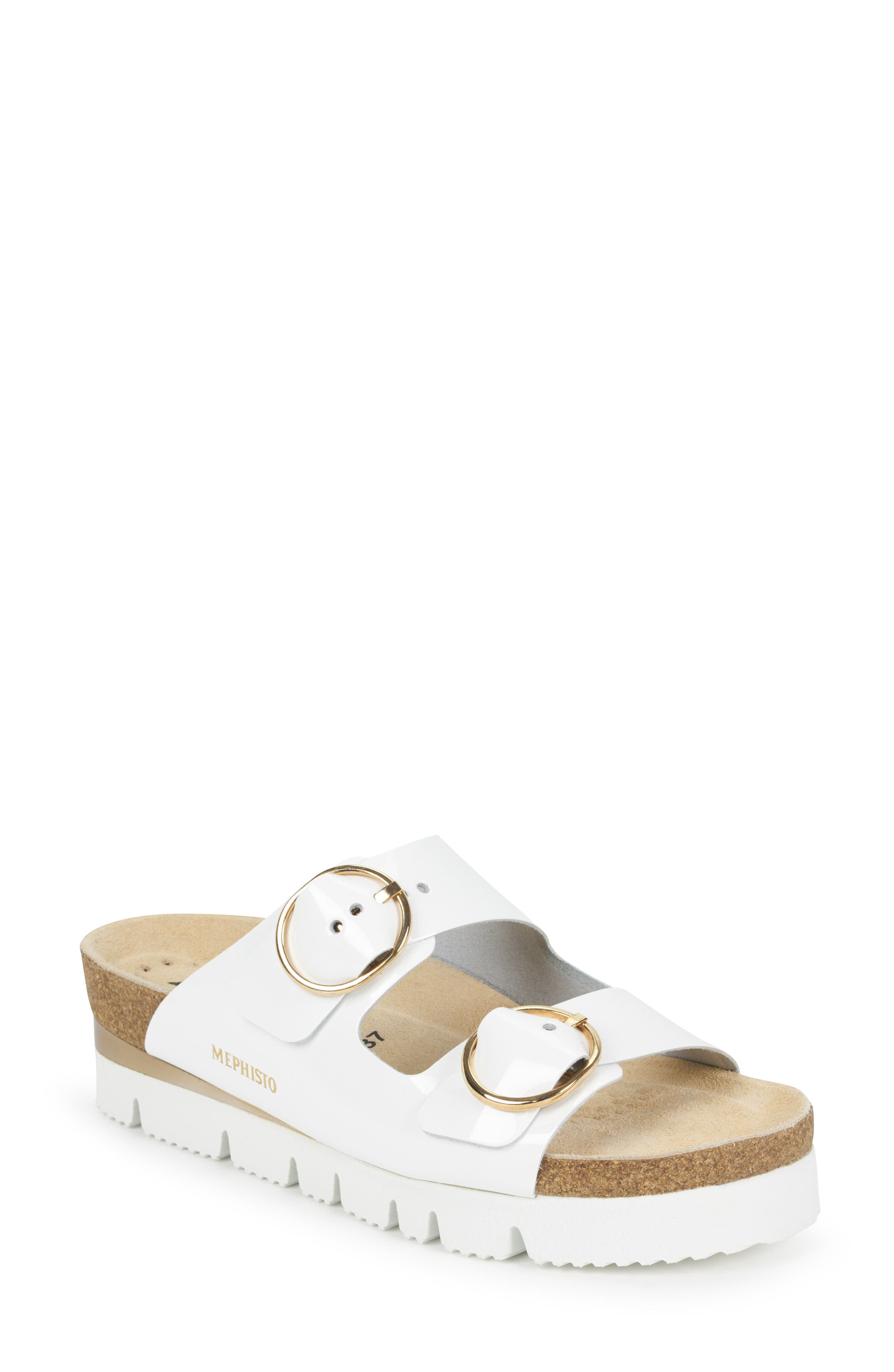 MEPHISTO Vandy Slide Sandal, Main, color, WHITE PATENT LEATHER