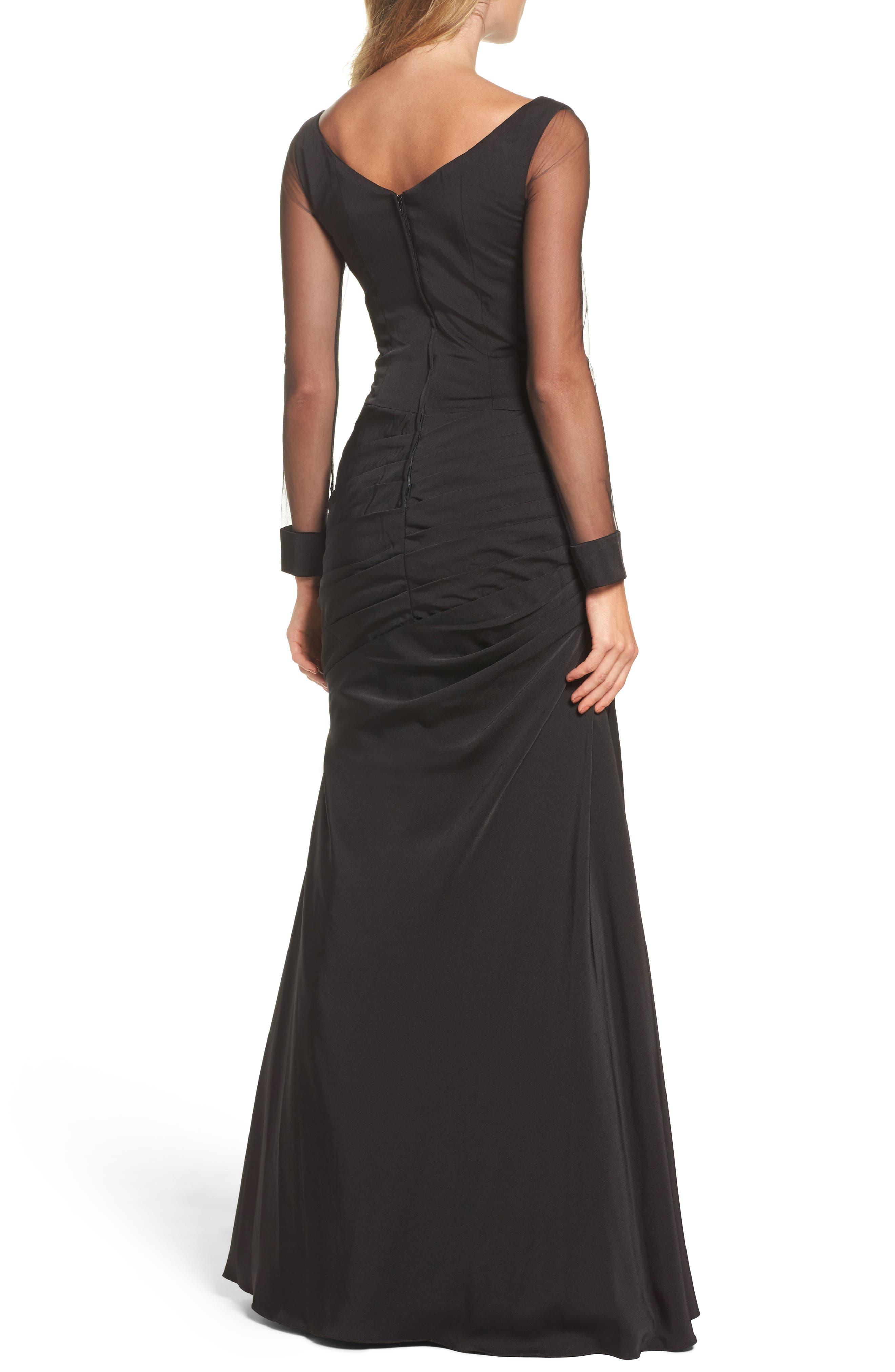 LA FEMME, Sheer Sleeve Gown, Alternate thumbnail 2, color, BLACK