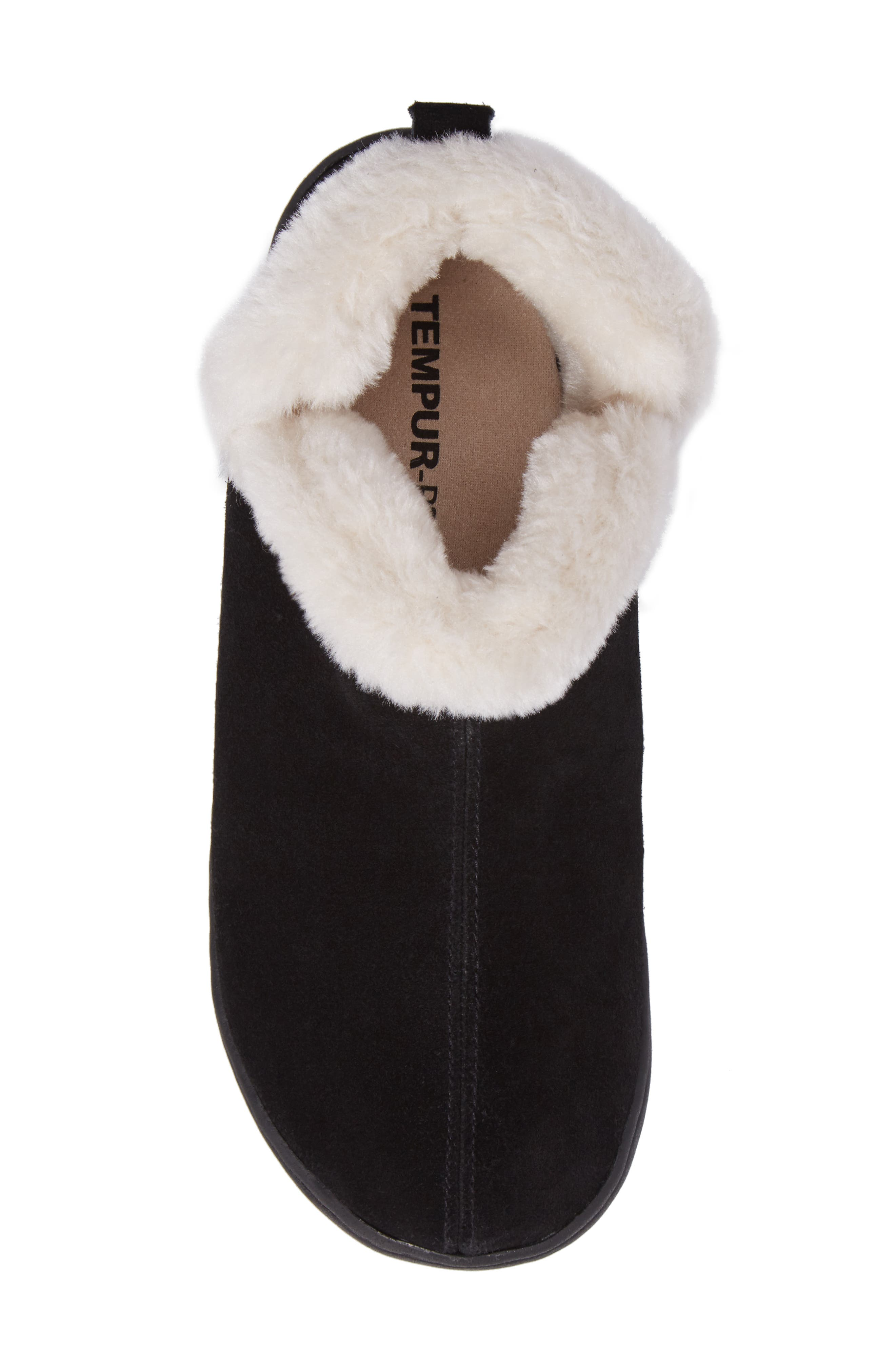 TEMPUR-PEDIC<SUP>®</SUP>, Vallery Bootie Slipper, Alternate thumbnail 5, color, BLACK SUEDE