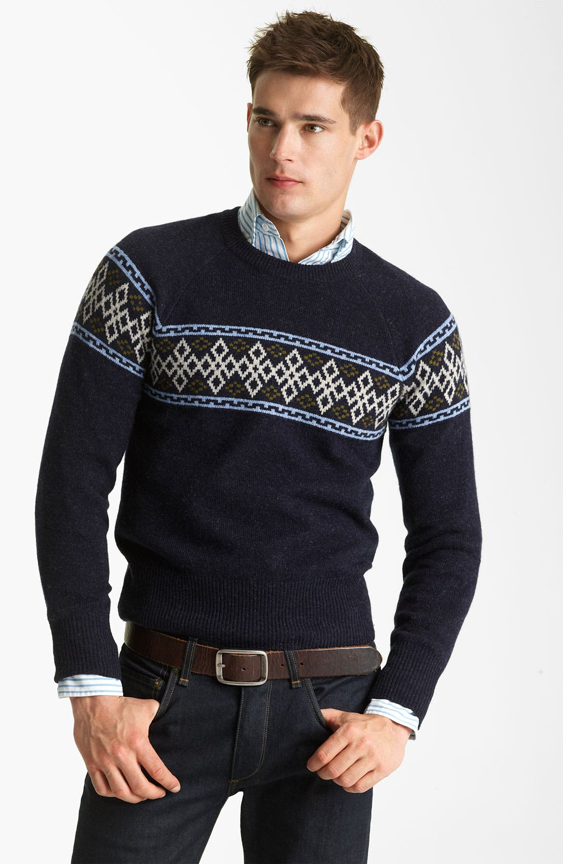 GANT BY MICHAEL BASTIAN, Wool Crewneck Sweater, Main thumbnail 1, color, 410