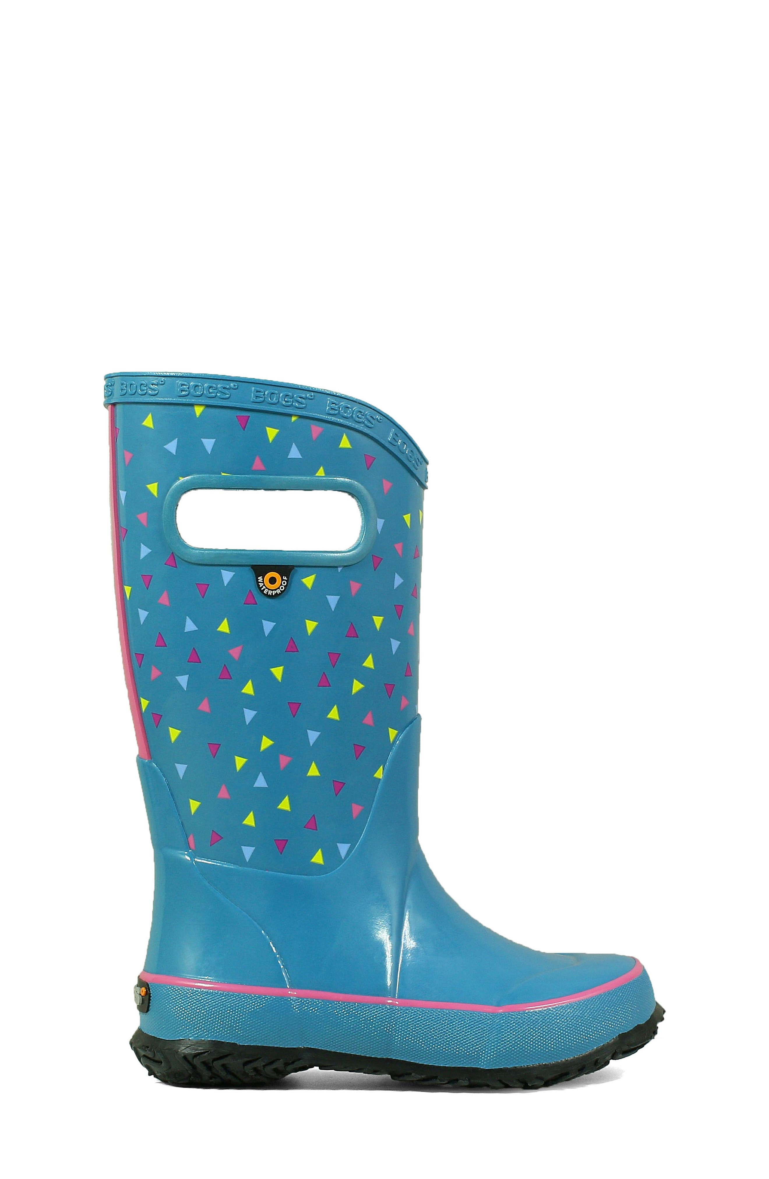 BOGS, Dots Waterproof Rain Boot, Alternate thumbnail 3, color, DARK BLUE MULTI