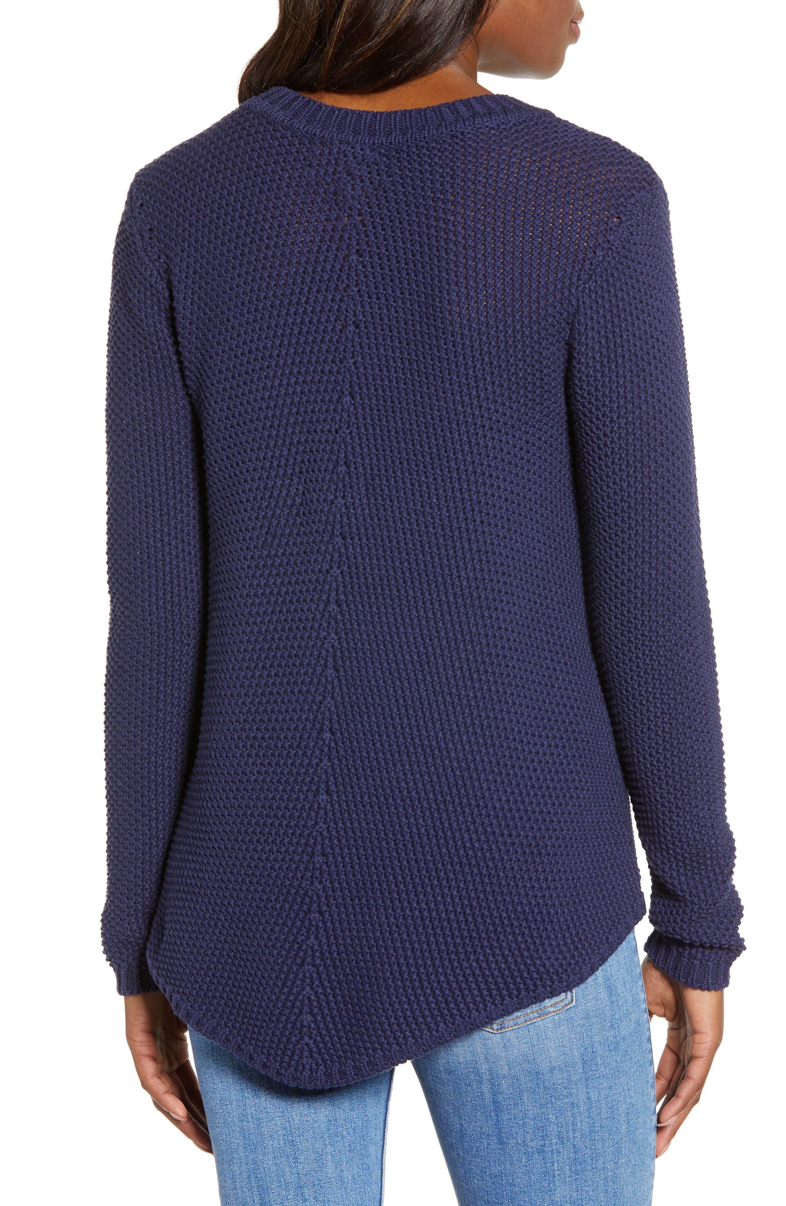CASLON<SUP>®</SUP>, Stitch Stripe Sweater, Alternate thumbnail 2, color, NAVY PEACOAT
