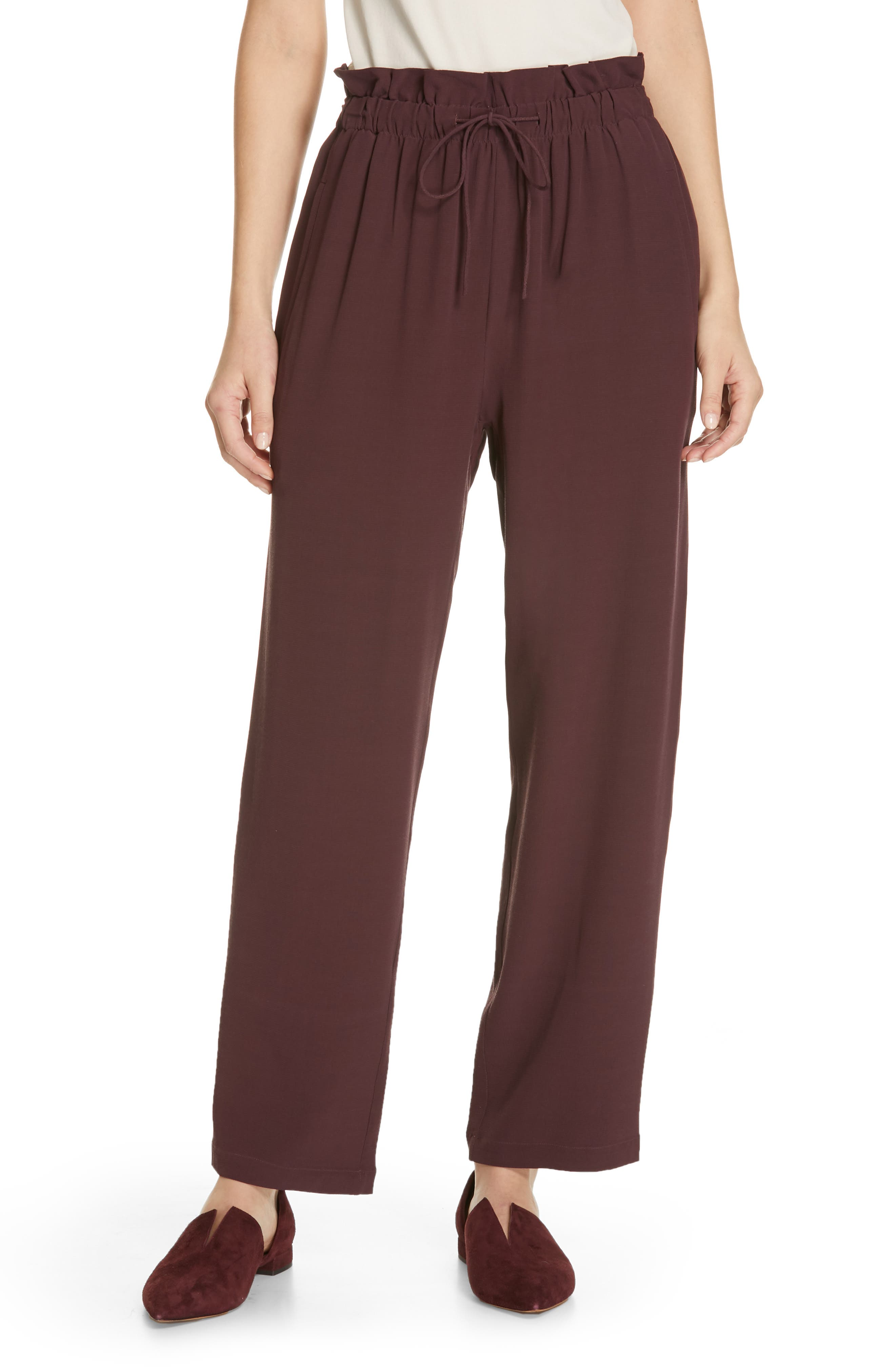 EILEEN FISHER, Crepe Pants, Main thumbnail 1, color, CASSIS