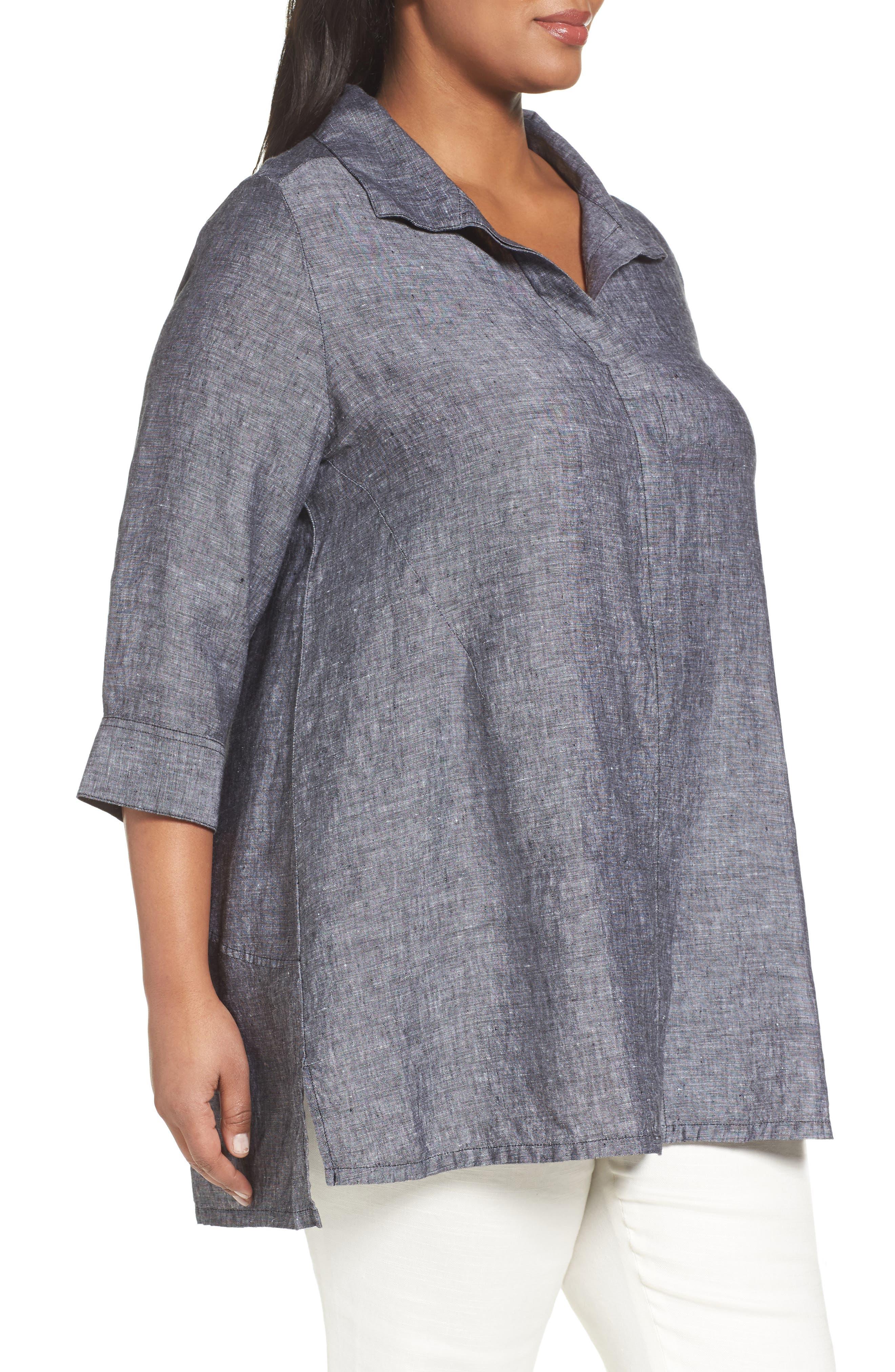 FOXCROFT, Chambray Linen Tunic Shirt, Alternate thumbnail 3, color, BLACK