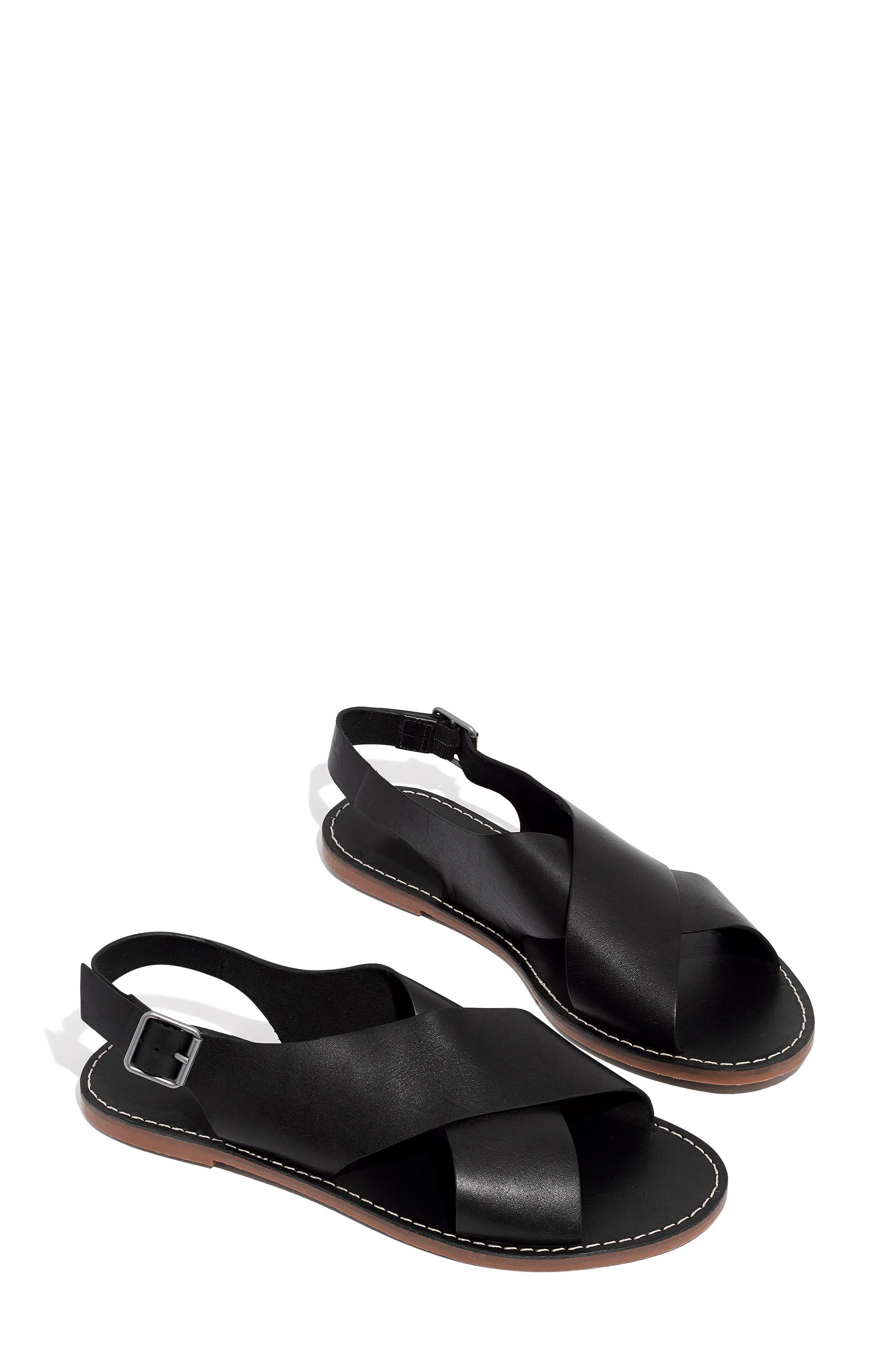 MADEWELL, Boardwalk Flat Sandal, Alternate thumbnail 9, color, TRUE BLACK