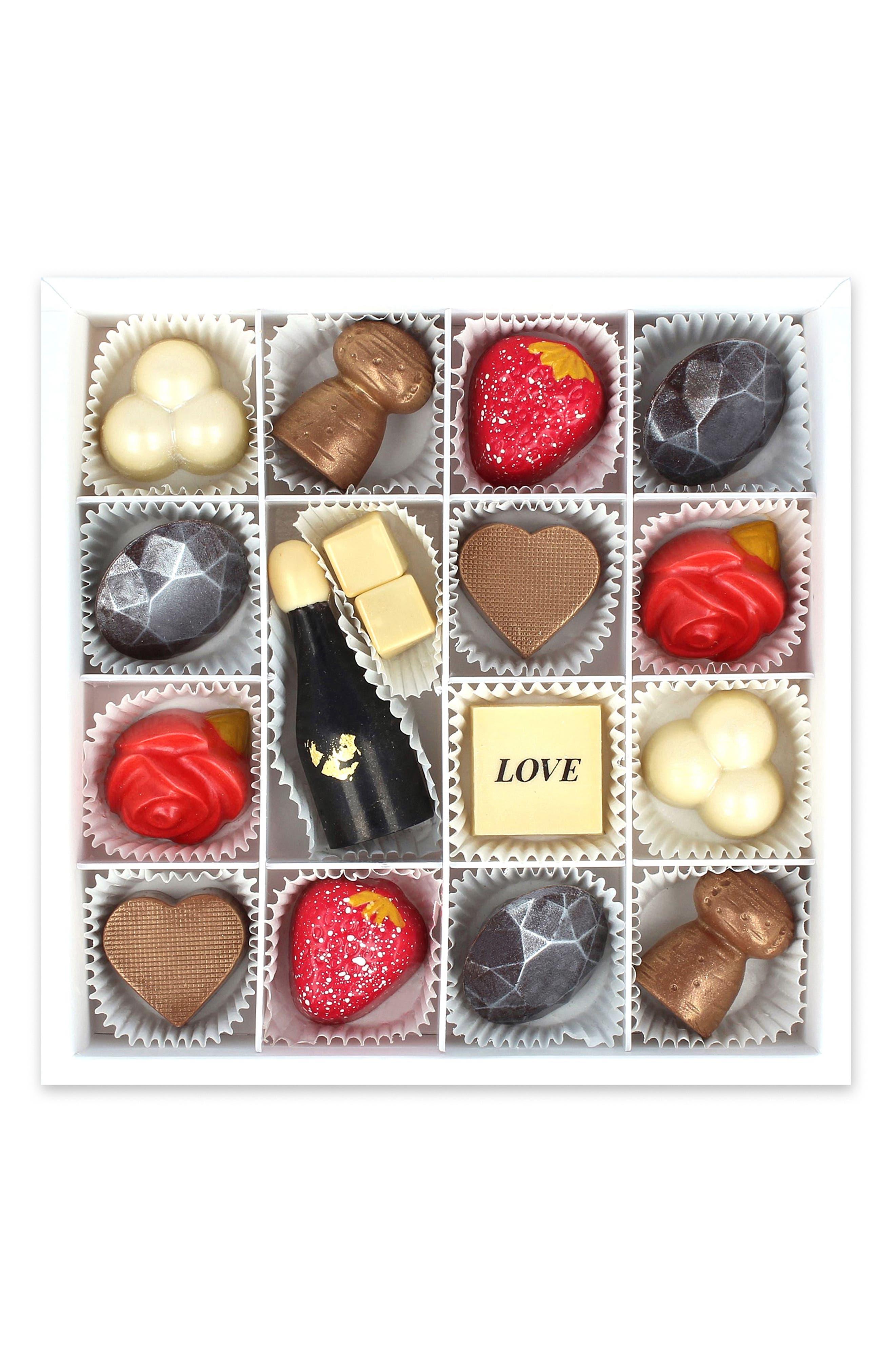 MAGGIE LOUISE CONFECTIONS, Lovestruck 16-Piece Chocolate Set, Main thumbnail 1, color, 100