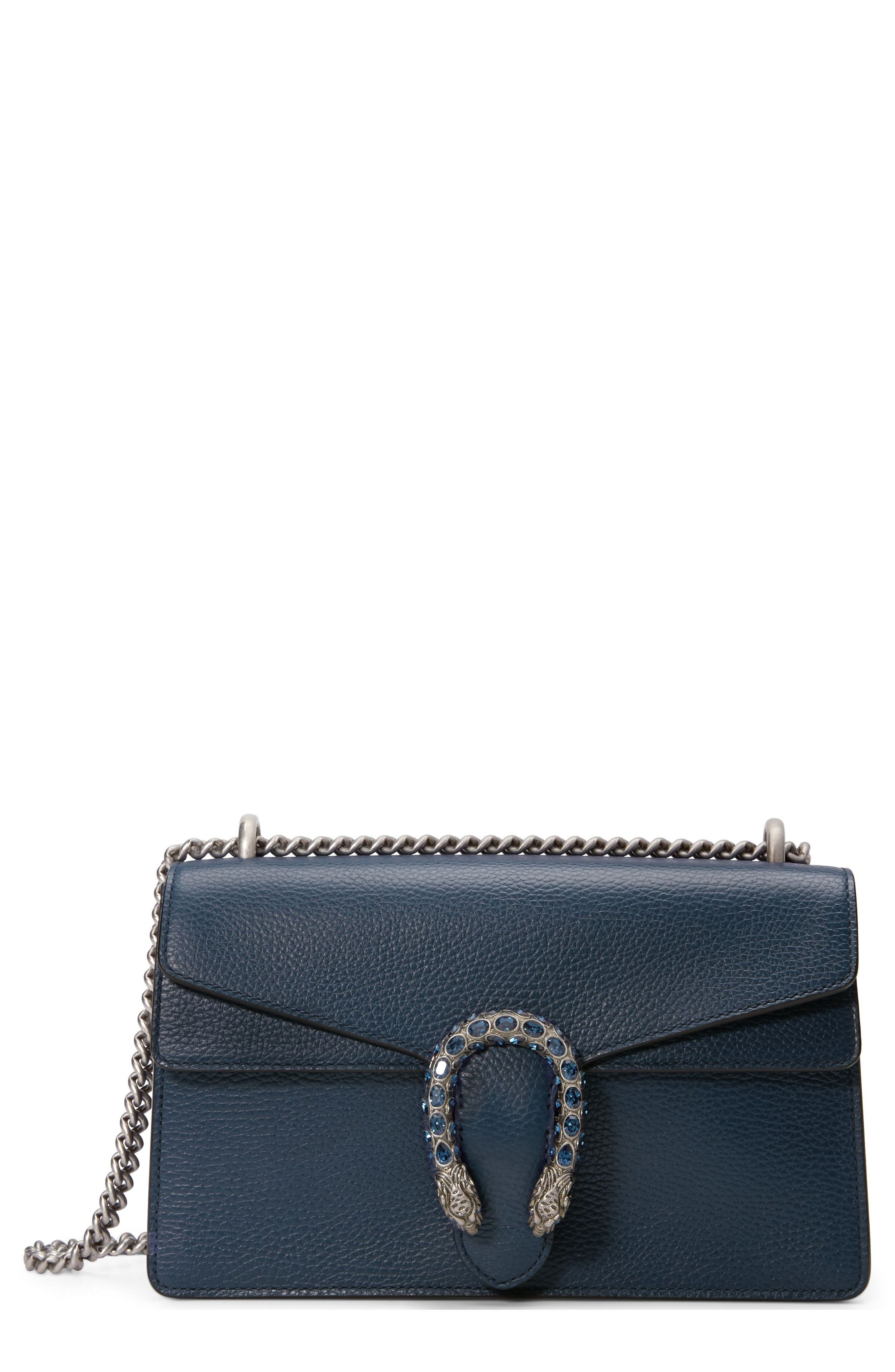 GUCCI, Small Dionysus Leather Shoulder Bag, Main thumbnail 1, color, BLU AGATA/ MONTANA