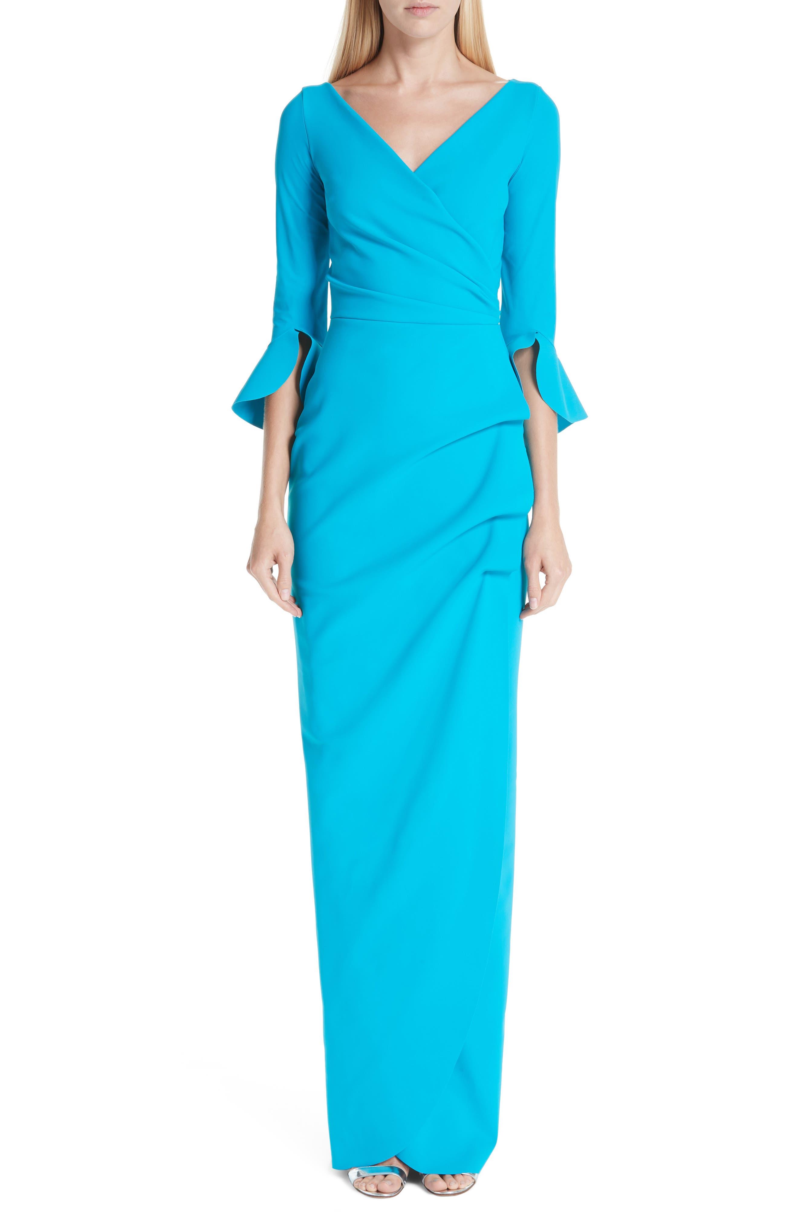 Chiara Boni La Petite Robe Ruched Bell Sleeve Evening Dress, US / 40 IT - Blue