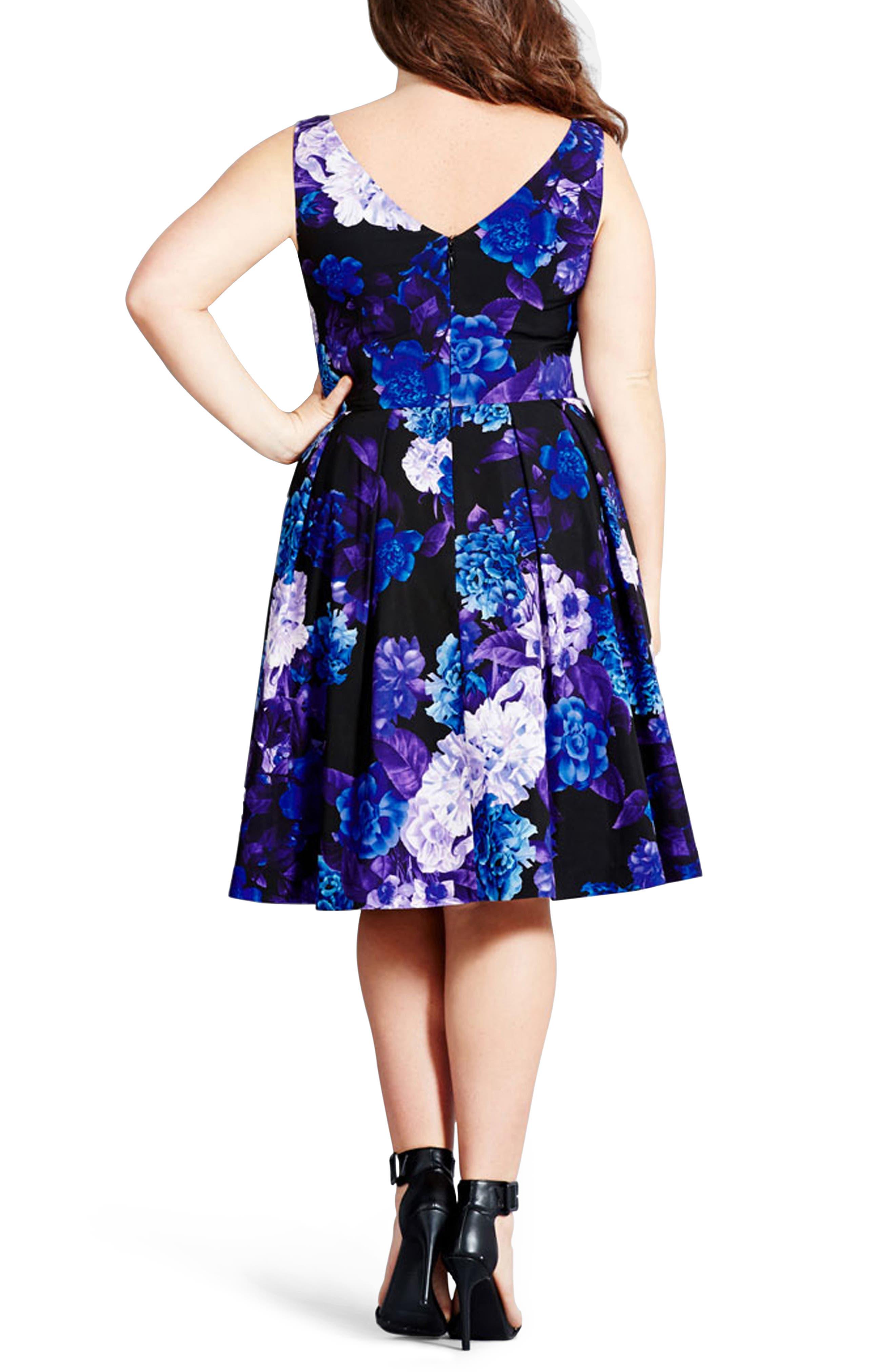 CITY CHIC, Hydrangea Print Dress, Alternate thumbnail 2, color, BLACK